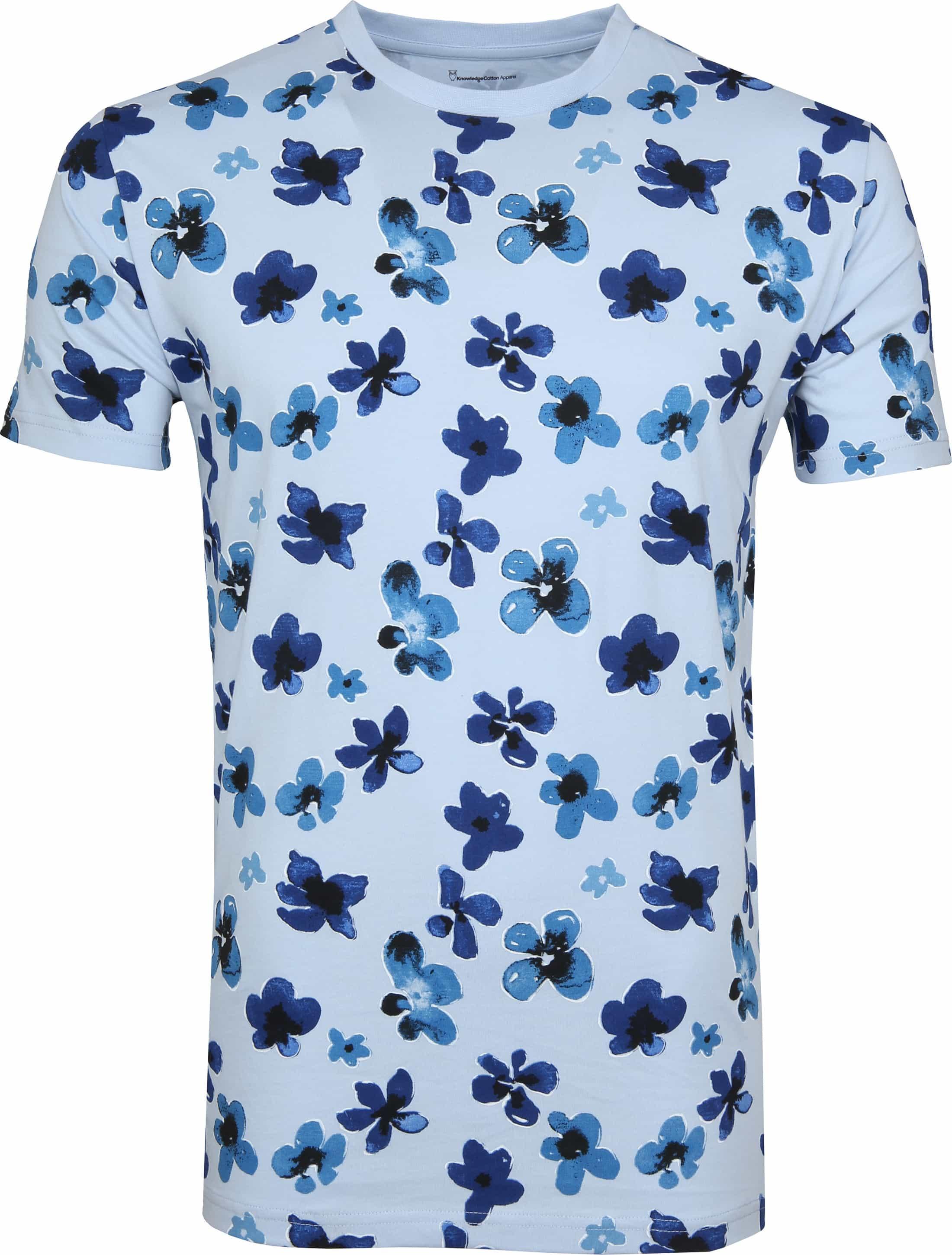 Knowledge Cotton Apparel T-shirt Bloemen Blauw foto 0