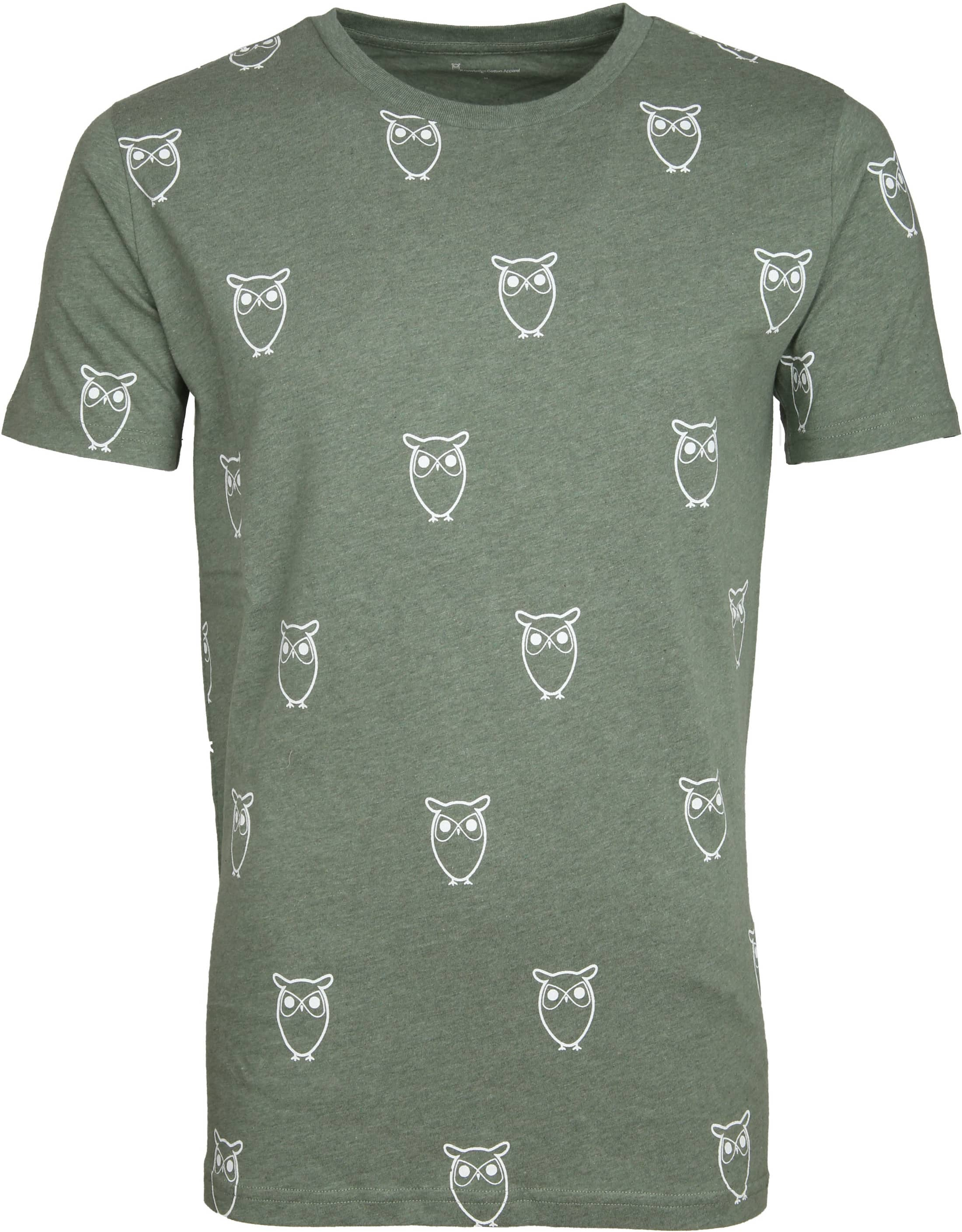 Knowledge Cotton Apparel T-shirt Owl Green foto 0
