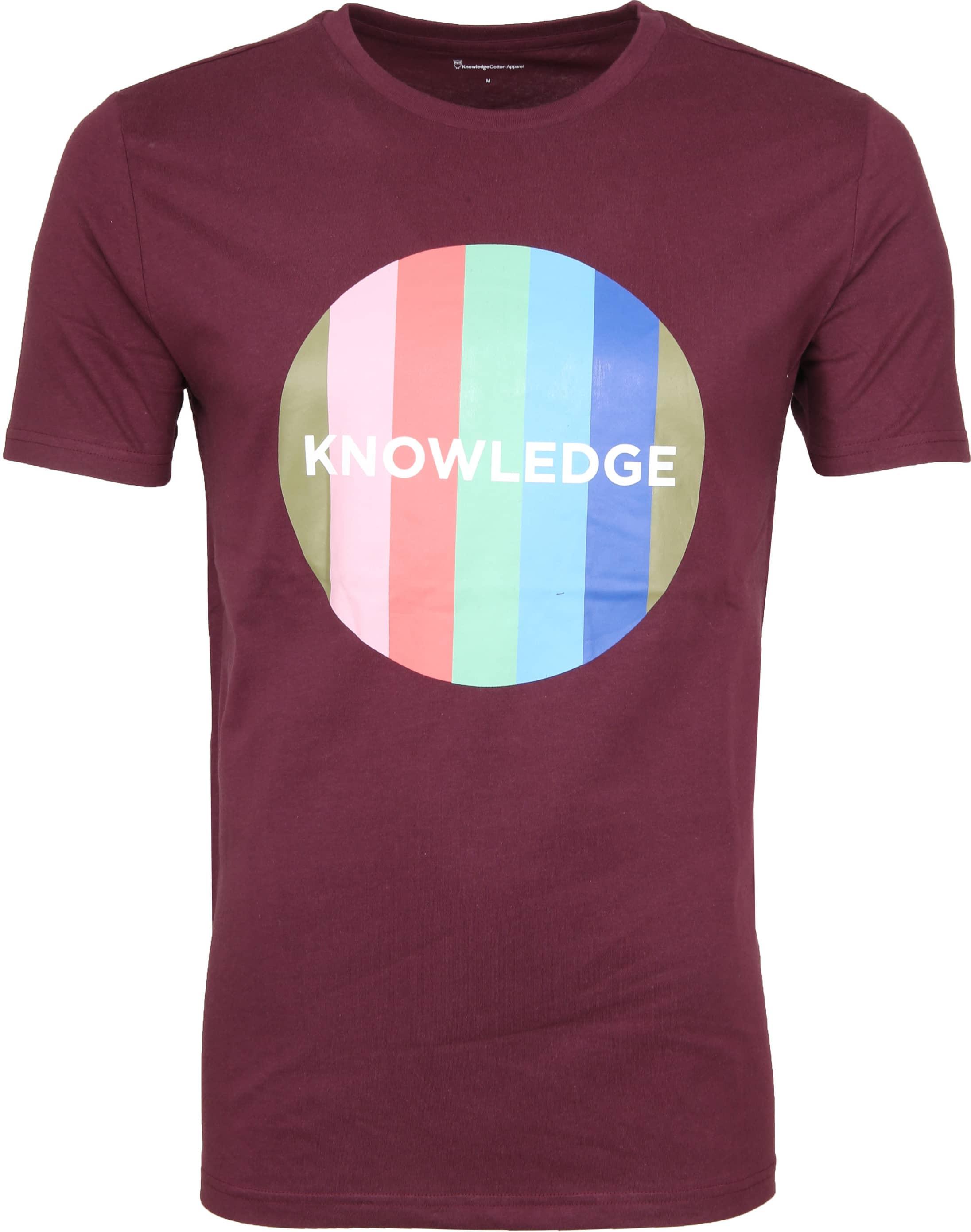 Knowledge Cotton Apparel T-shirt Print Bordeaux foto 0