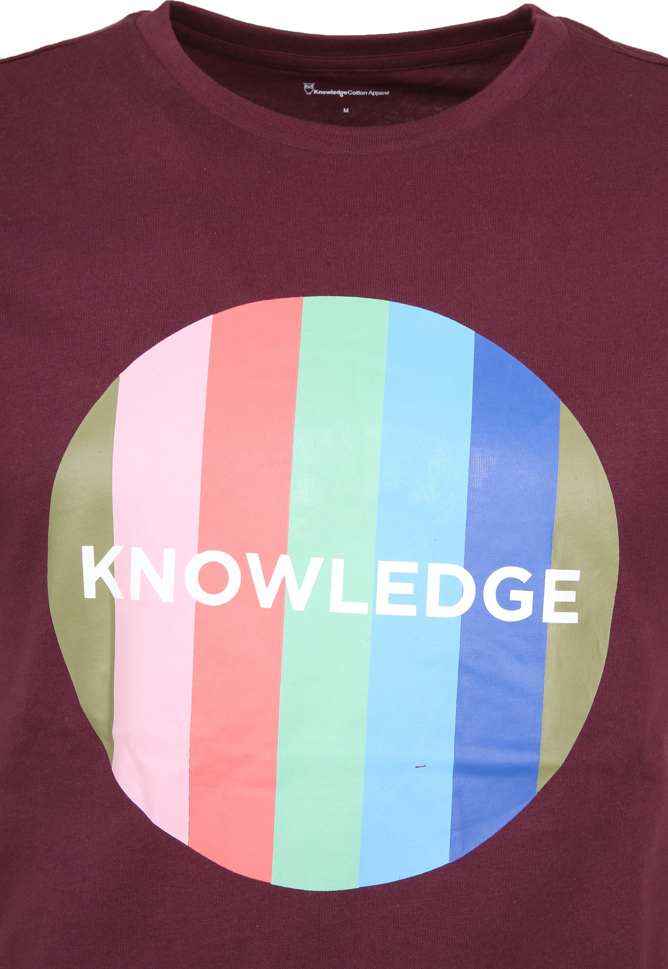 Knowledge Cotton Apparel T-shirt Print Bordeaux foto 1