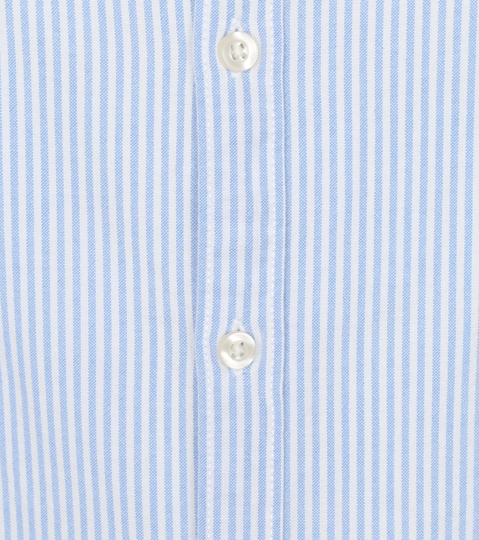 KnowledgeCotton Apparel Elder Strepen Overhemd Lichtblauw