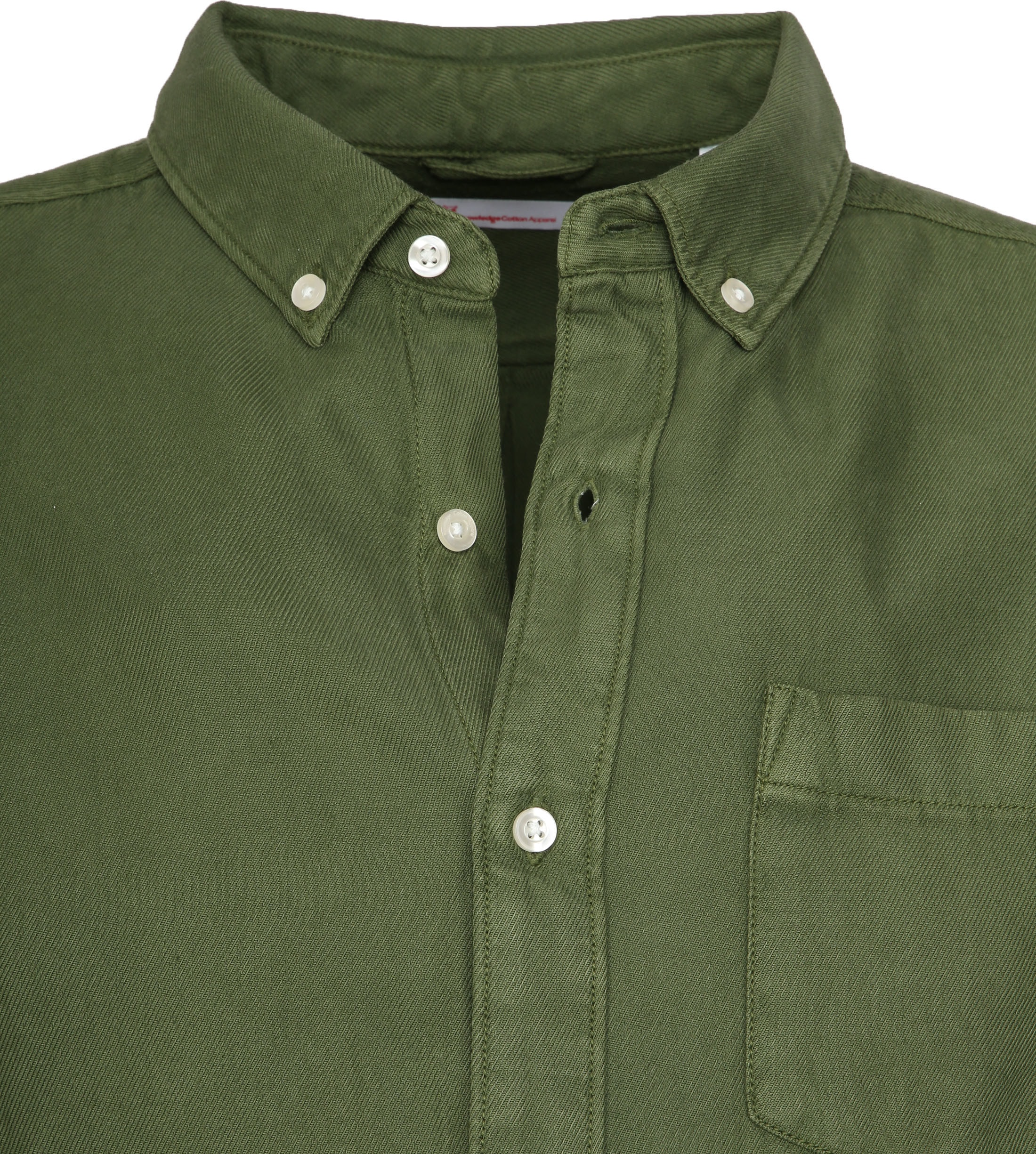 KnowledgeCotton Apparel Overhemd Twill Groen foto 1