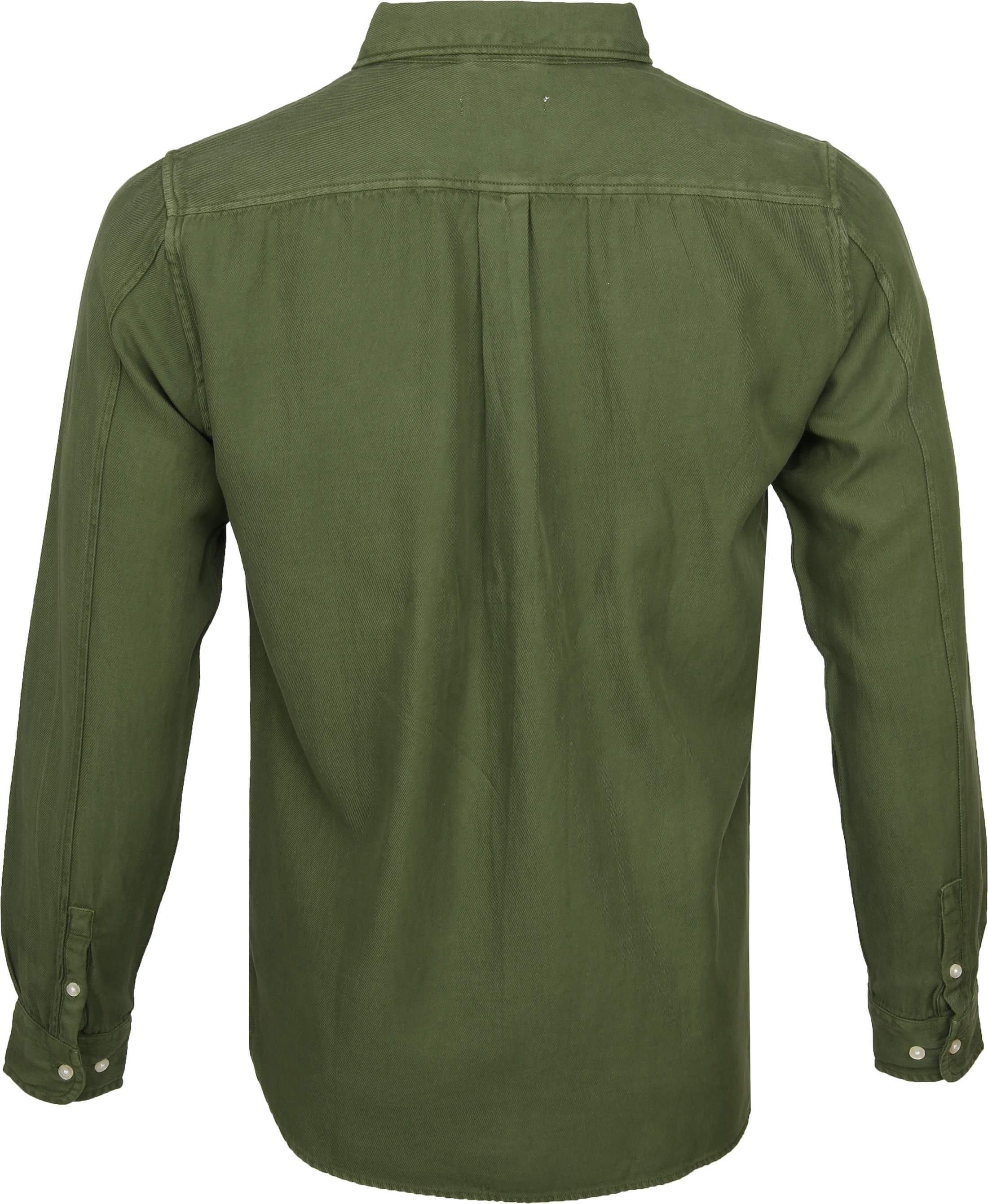 KnowledgeCotton Apparel Overhemd Twill Groen foto 3