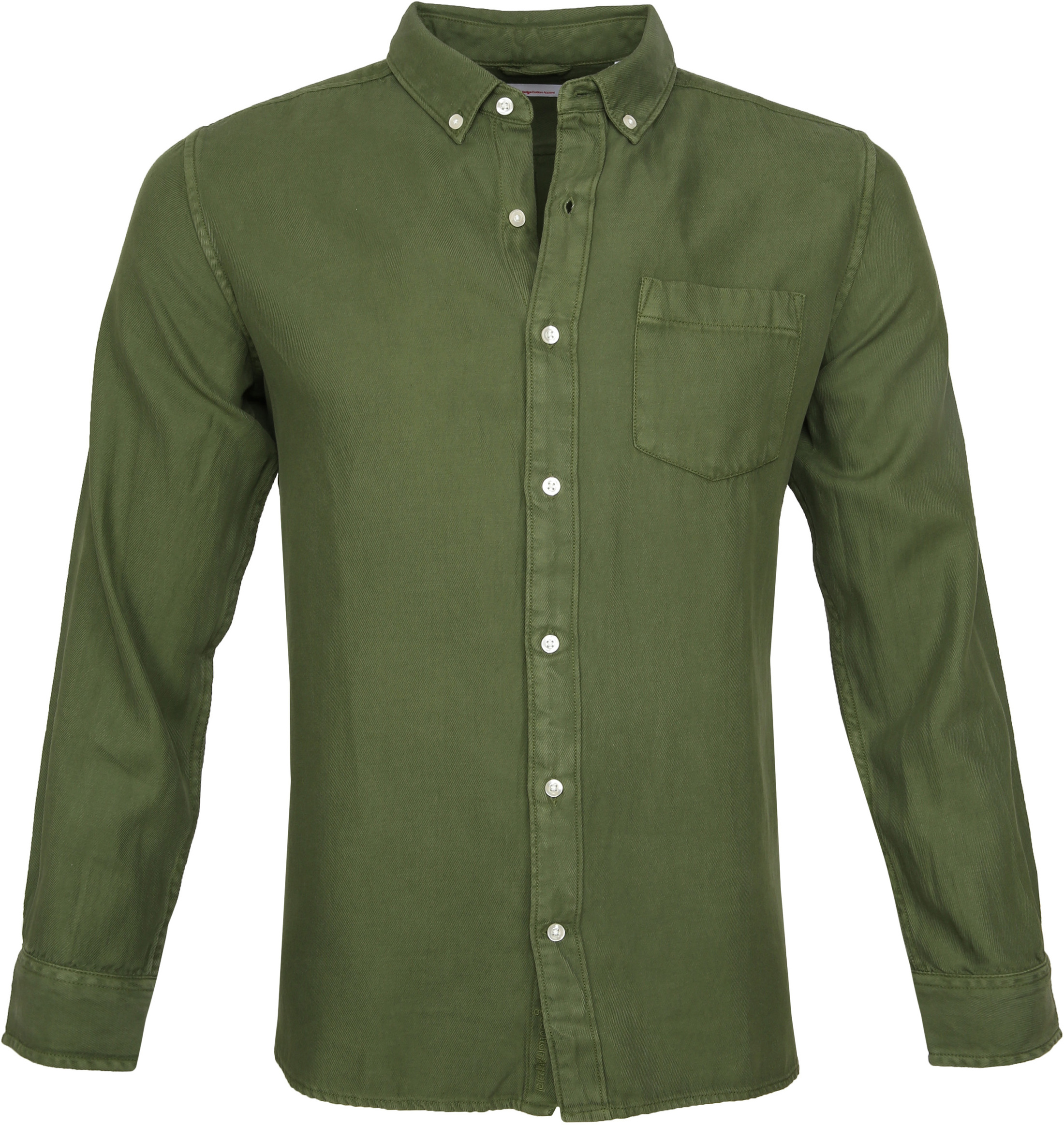KnowledgeCotton Apparel Overhemd Twill Groen foto 0