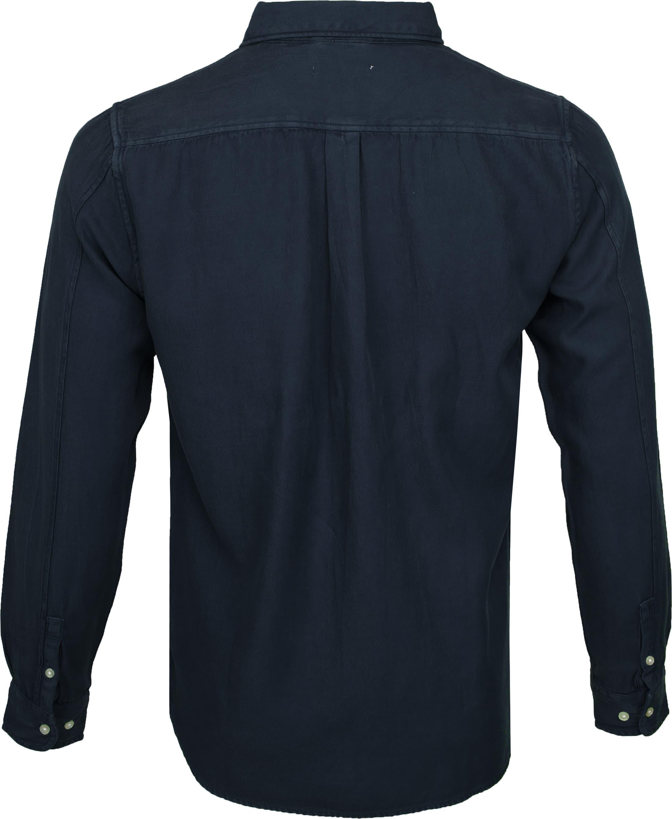 KnowledgeCotton Apparel Overhemd Twill Navy foto 3