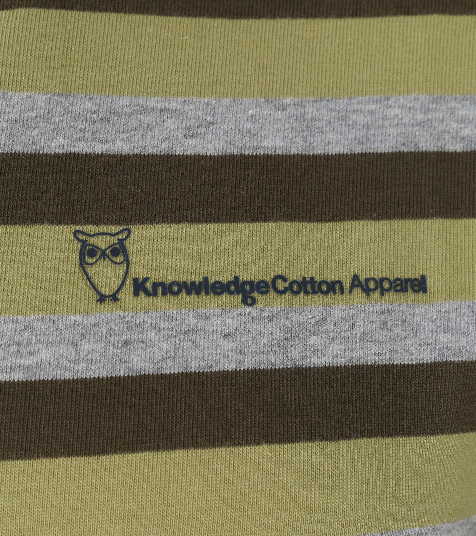 KnowledgeCotton Apparel T-shirt Alder Stripes Donkergroen