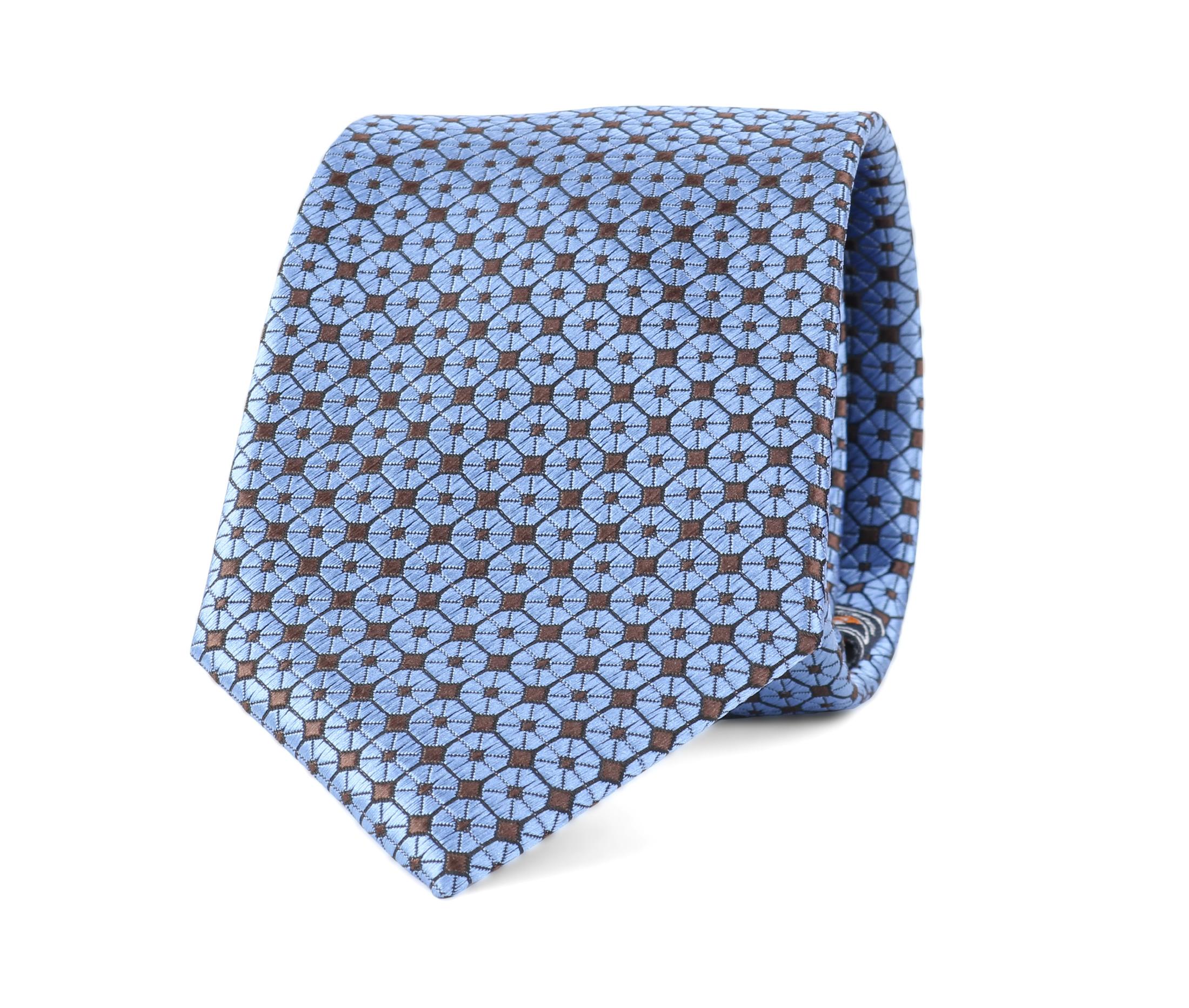 Krawatte Seide Dessin Blau 9-17 foto 0