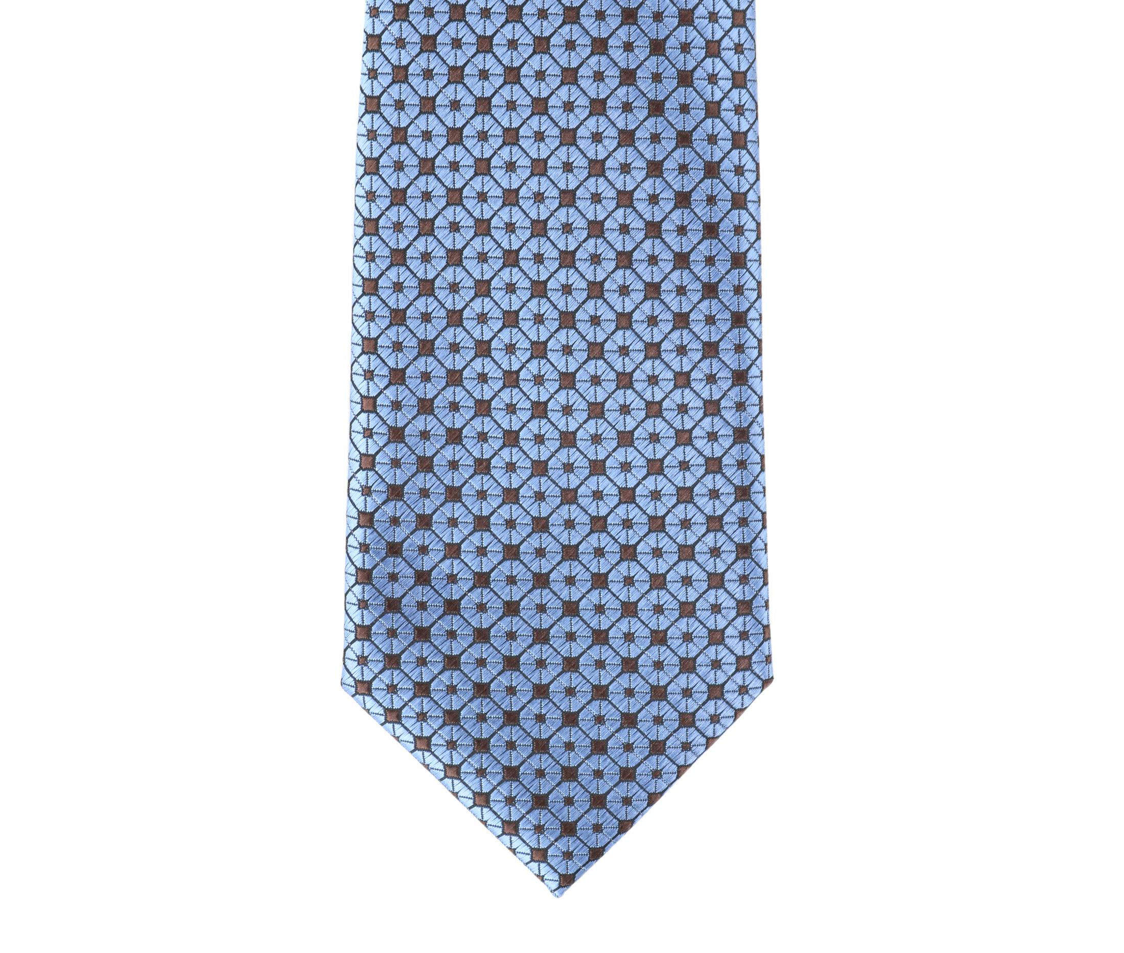 Krawatte Seide Dessin Blau 9-17 foto 1