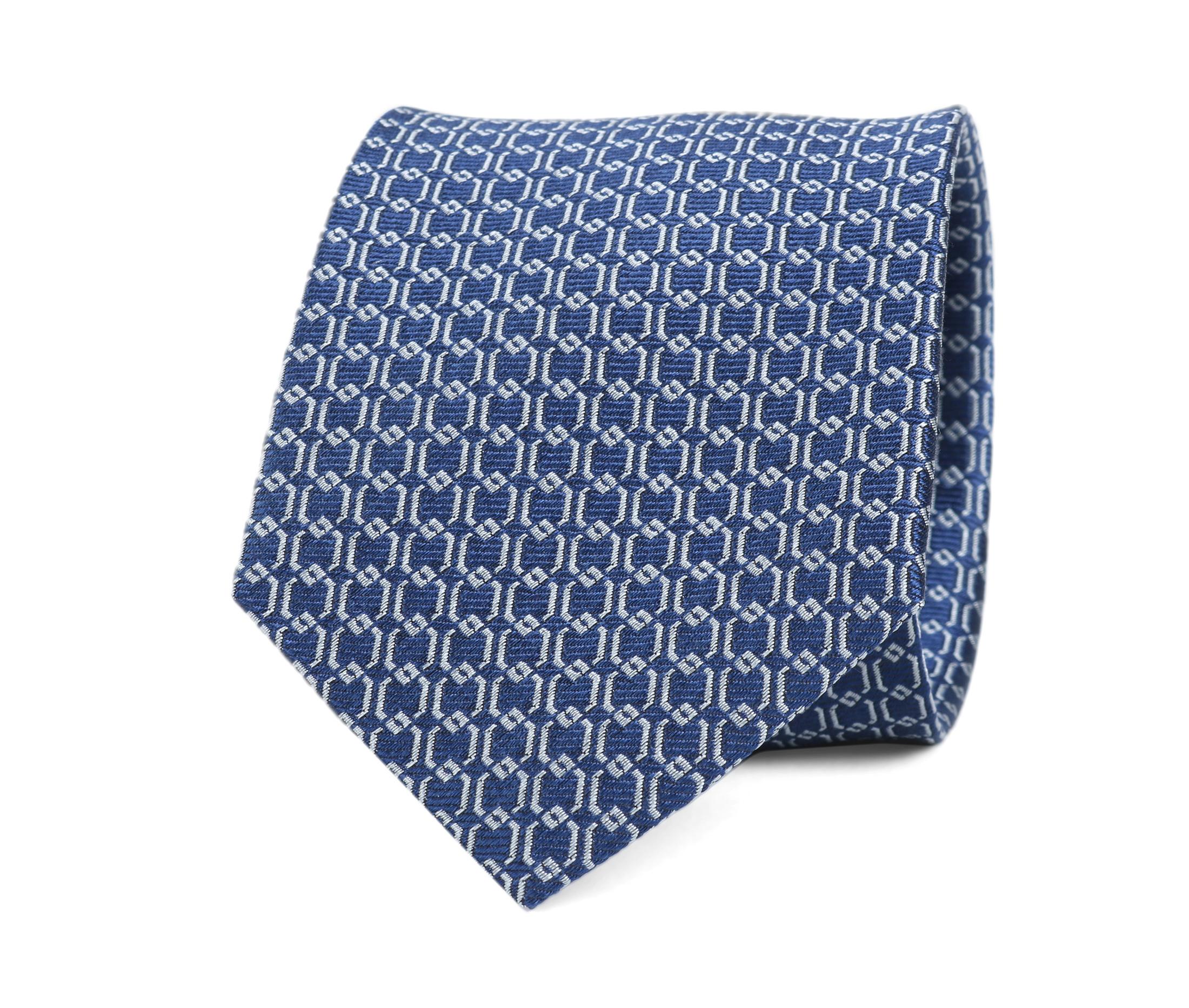 Krawatte Seide Dessin Blau Gitter foto 0