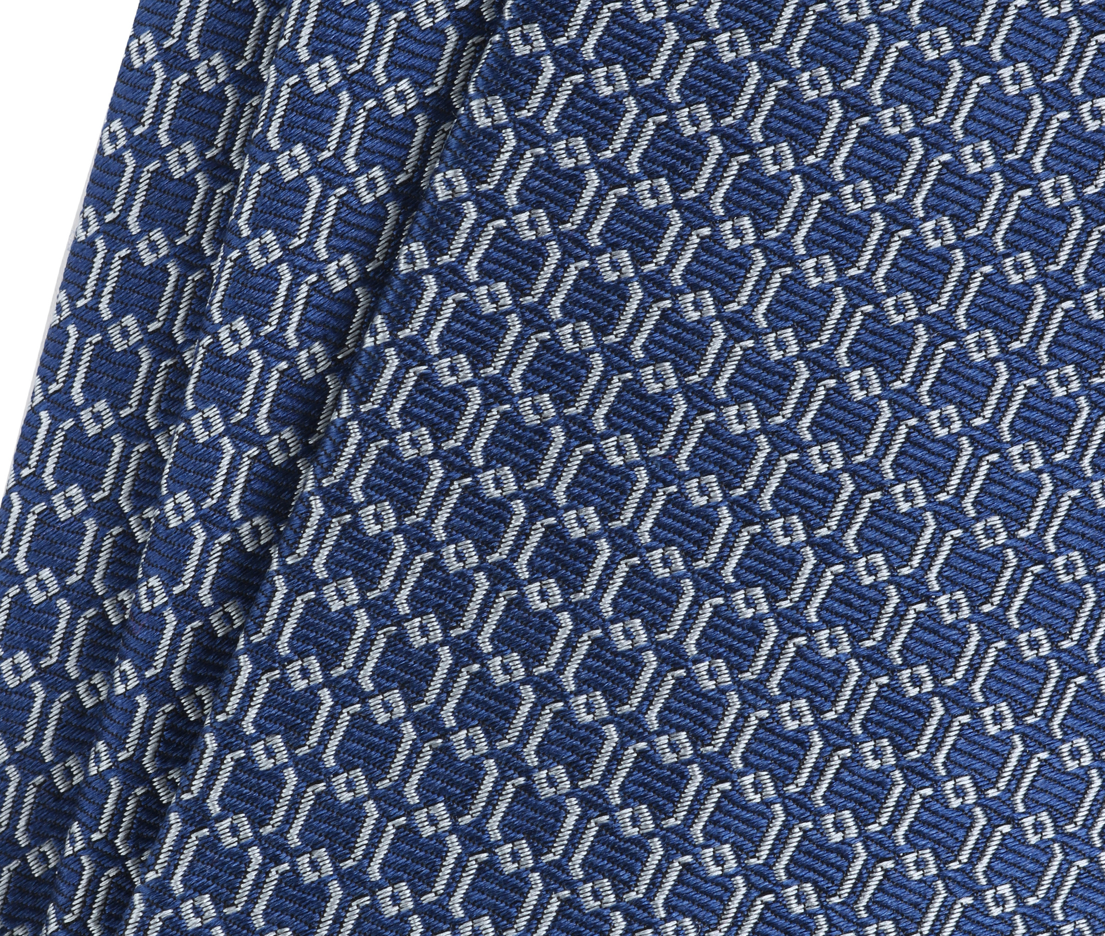Krawatte Seide Dessin Blau Gitter foto 1