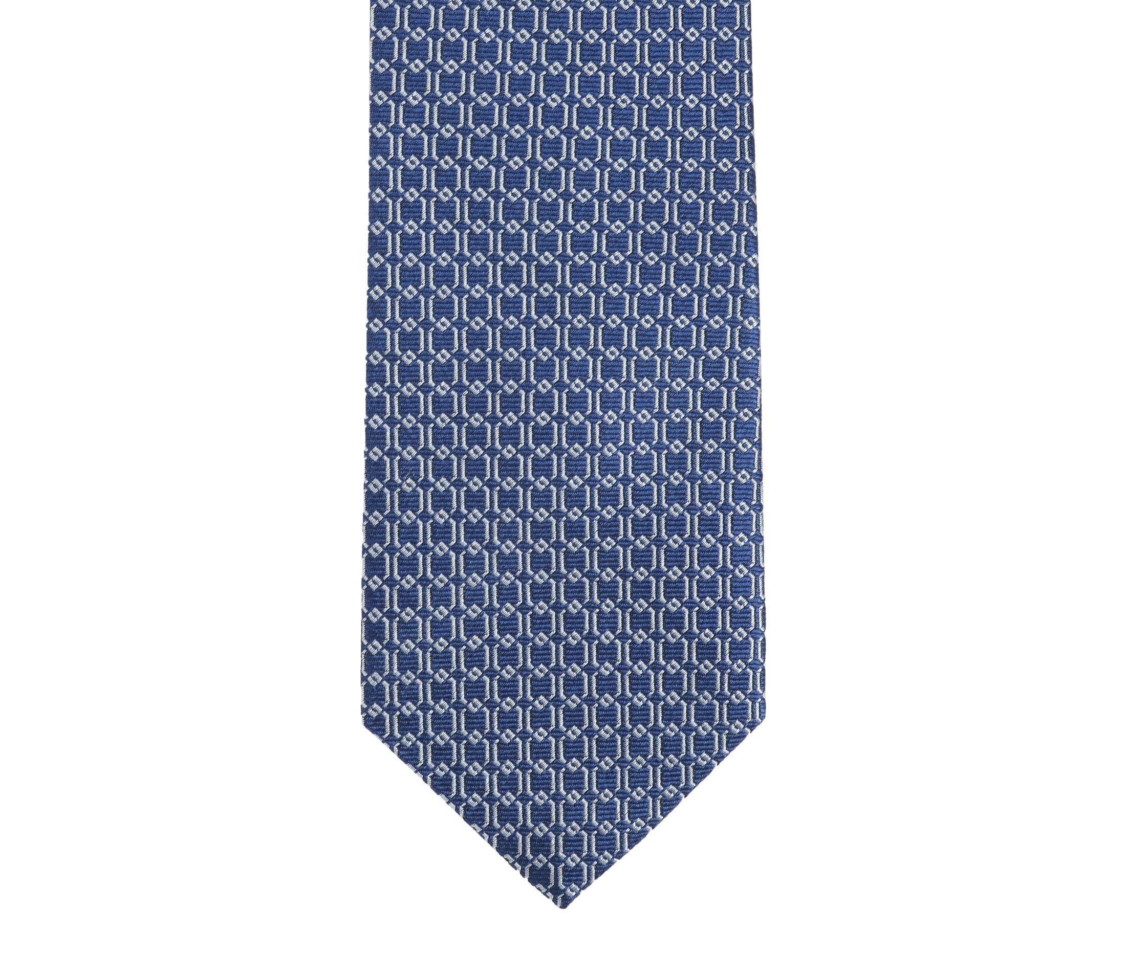 Krawatte Seide Dessin Blau Gitter foto 2