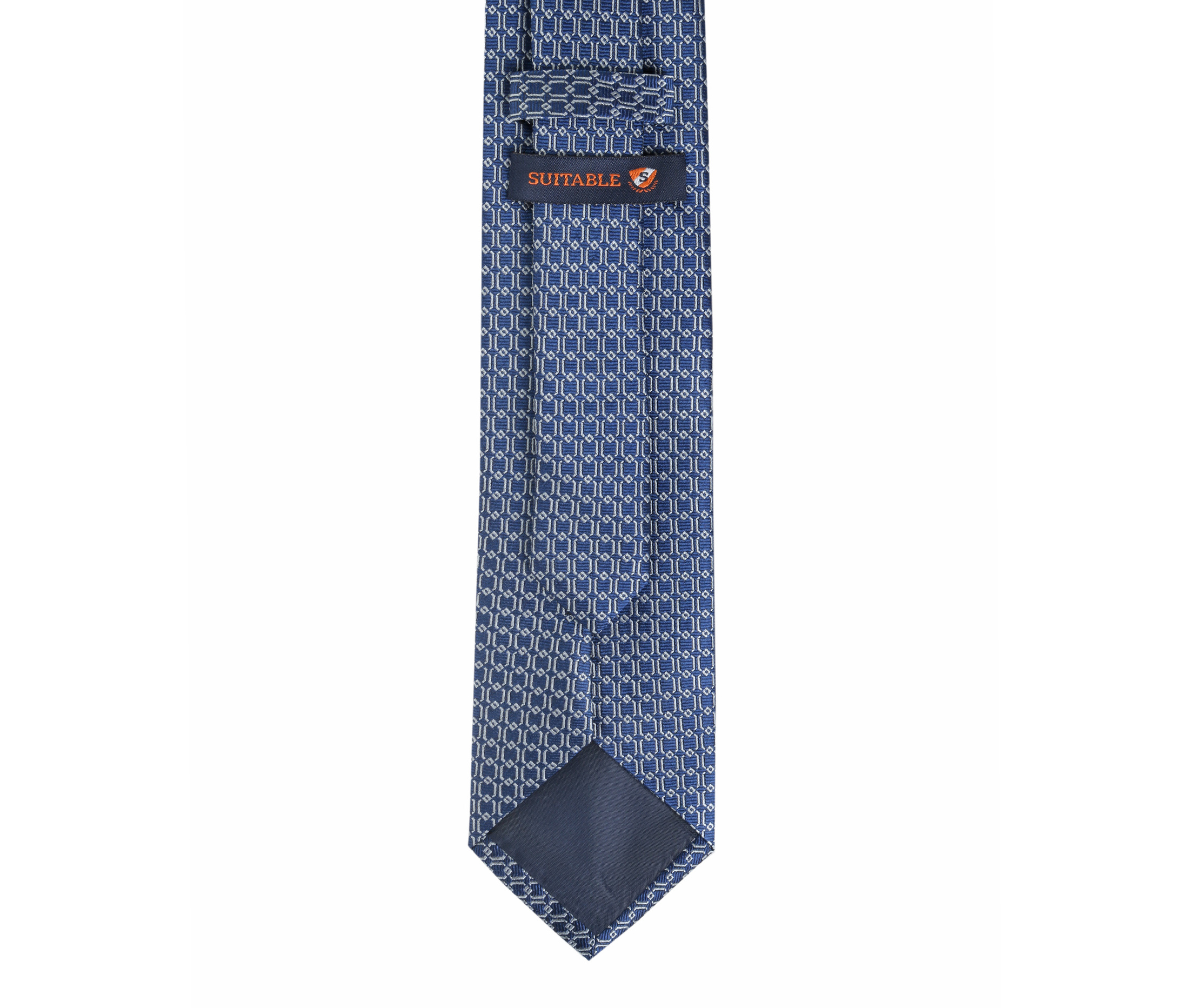 Krawatte Seide Dessin Blau Gitter foto 3