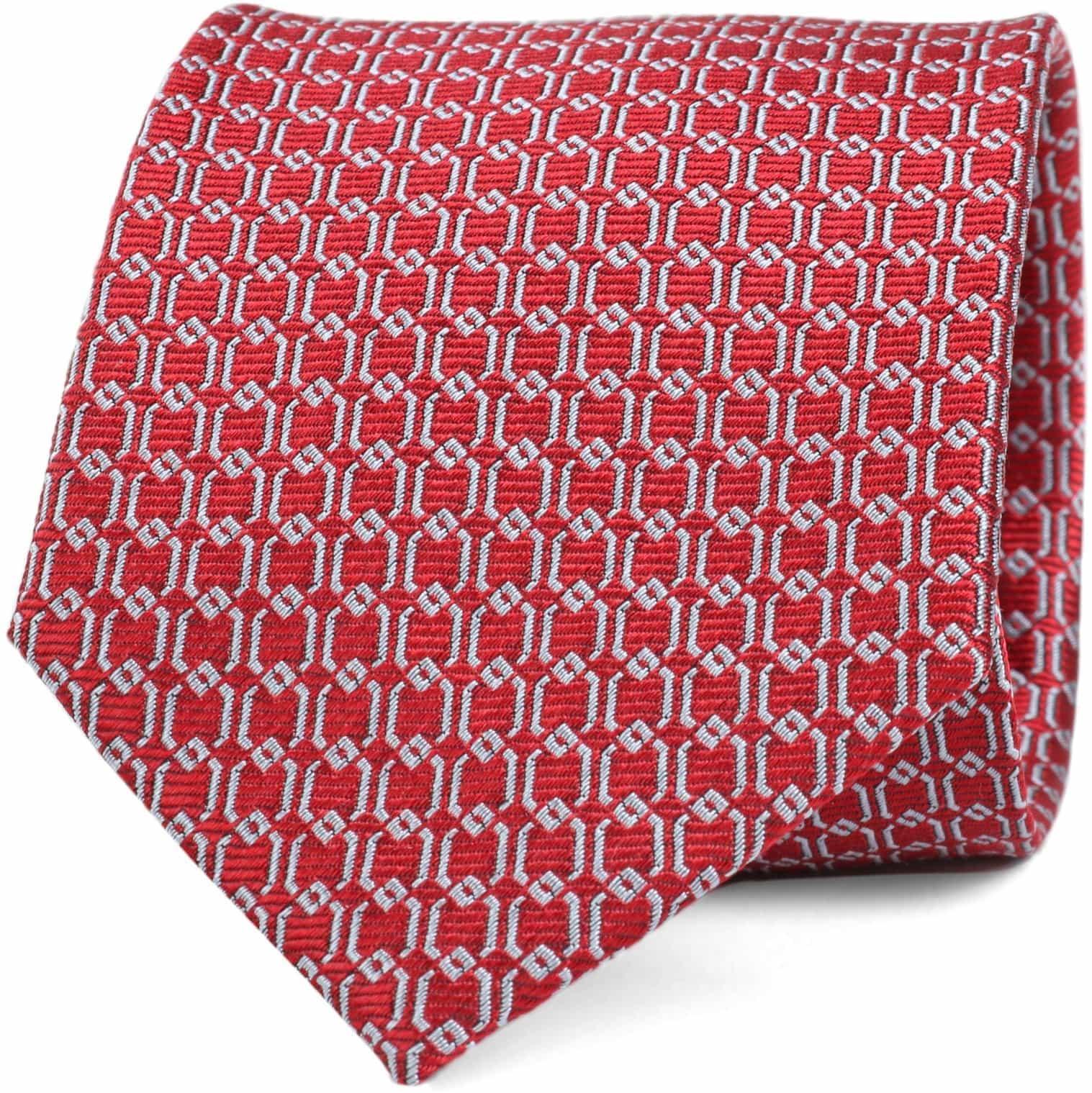 Krawatte Seide Dessin Rot Gitter foto 0