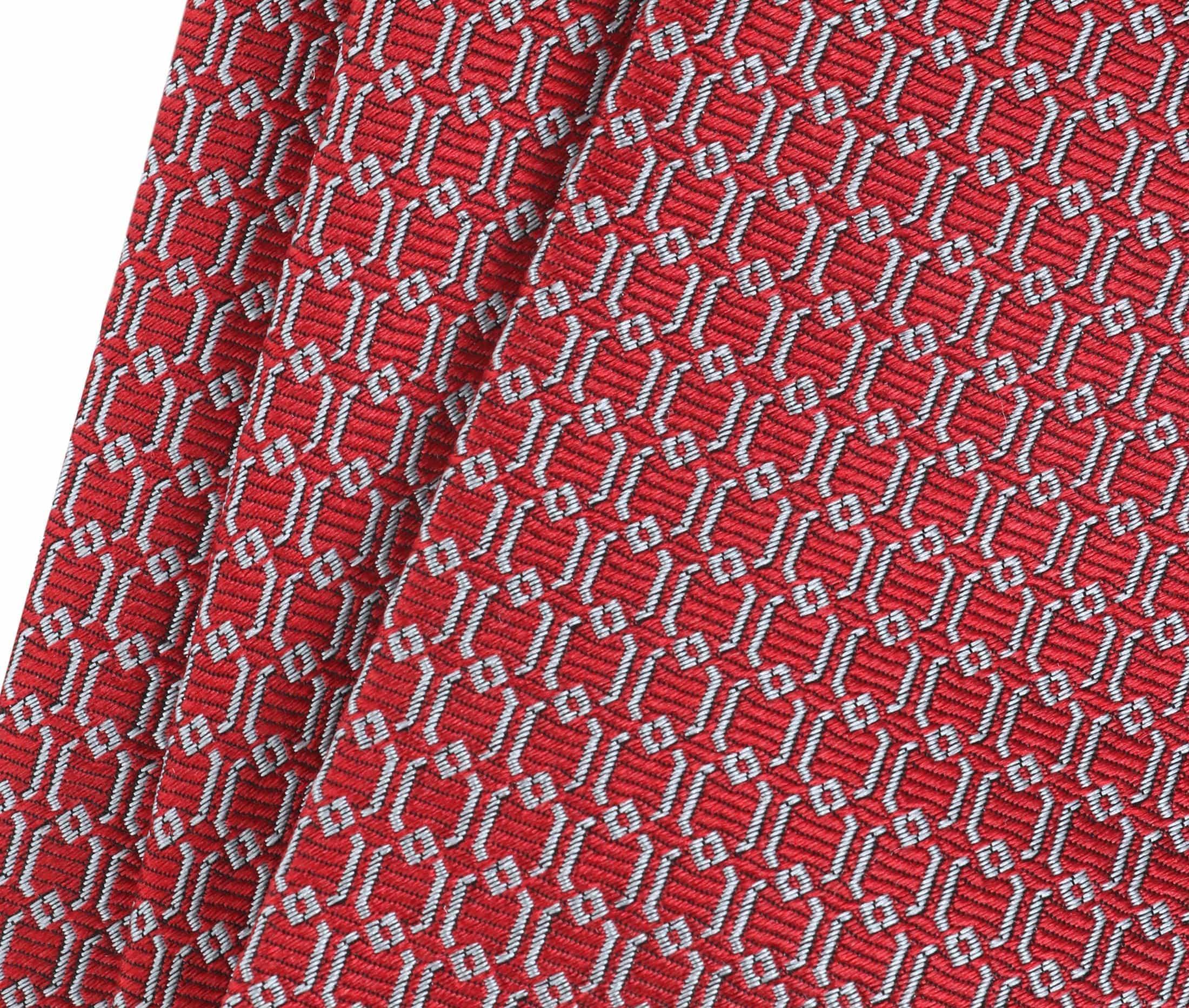 Krawatte Seide Dessin Rot Gitter foto 1