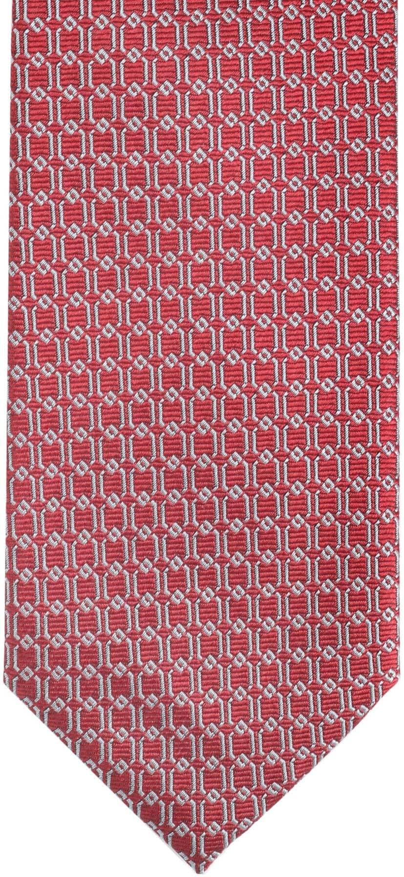 Krawatte Seide Dessin Rot Gitter foto 2