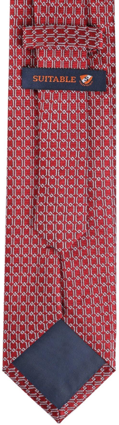 Krawatte Seide Dessin Rot Gitter foto 3