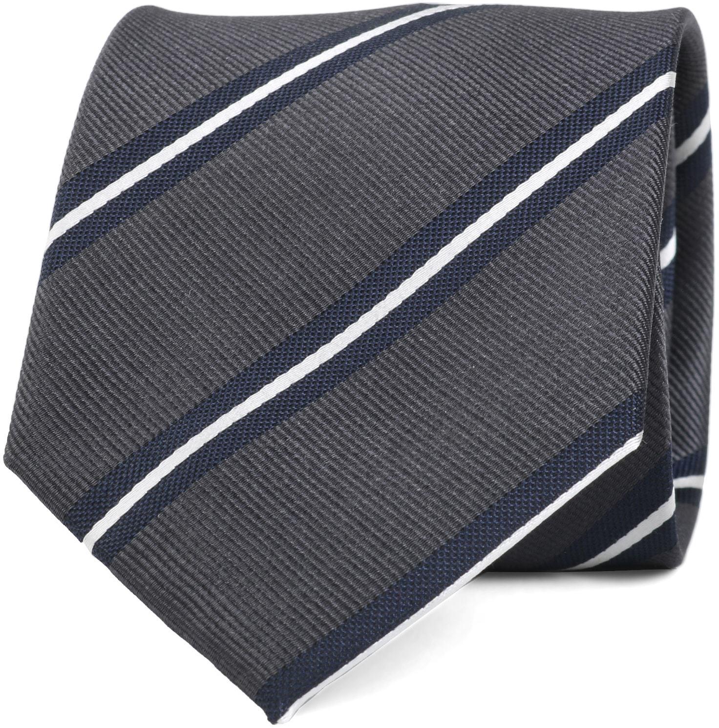Krawatte Seide Dunkelgrau Streifen foto 0