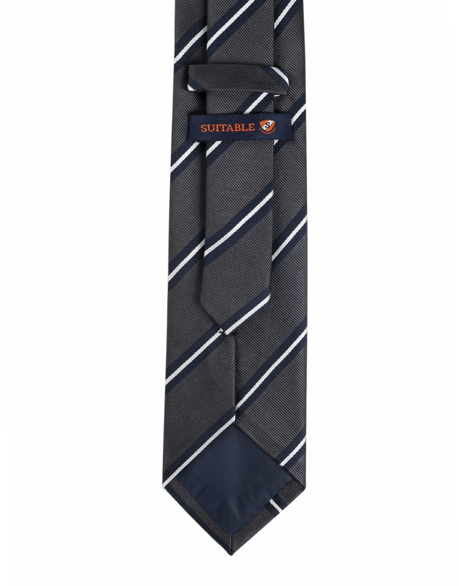 Krawatte Seide Dunkelgrau Streifen foto 2