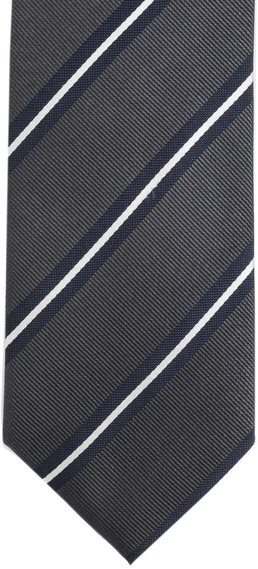 Krawatte Seide Dunkelgrau Streifen foto 3