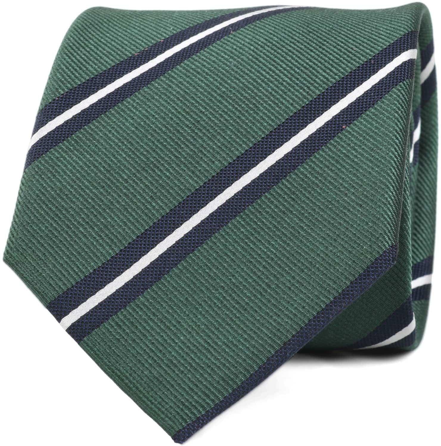 Krawatte Seide Grün Streifen foto 0