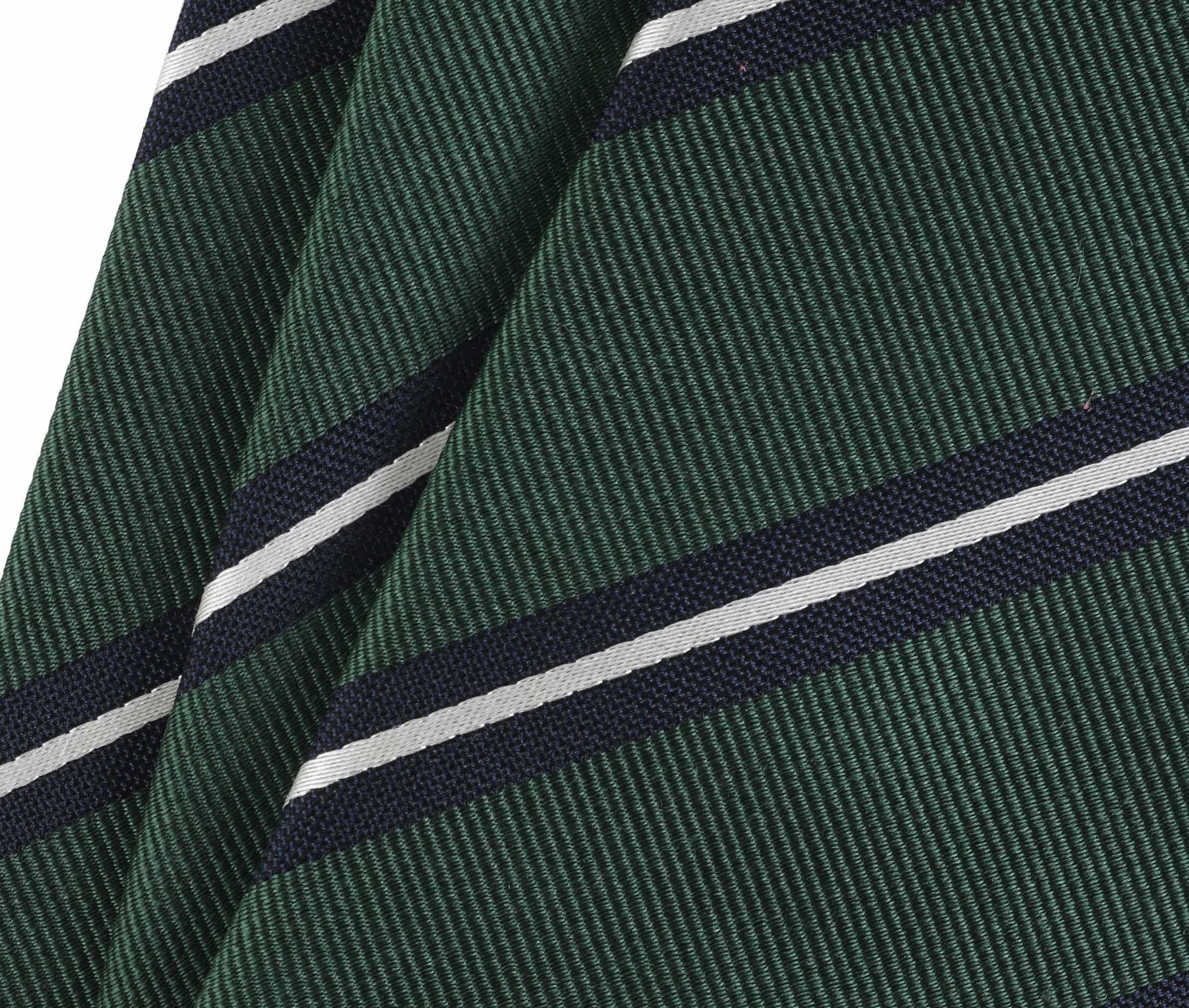 Krawatte Seide Grün Streifen foto 1