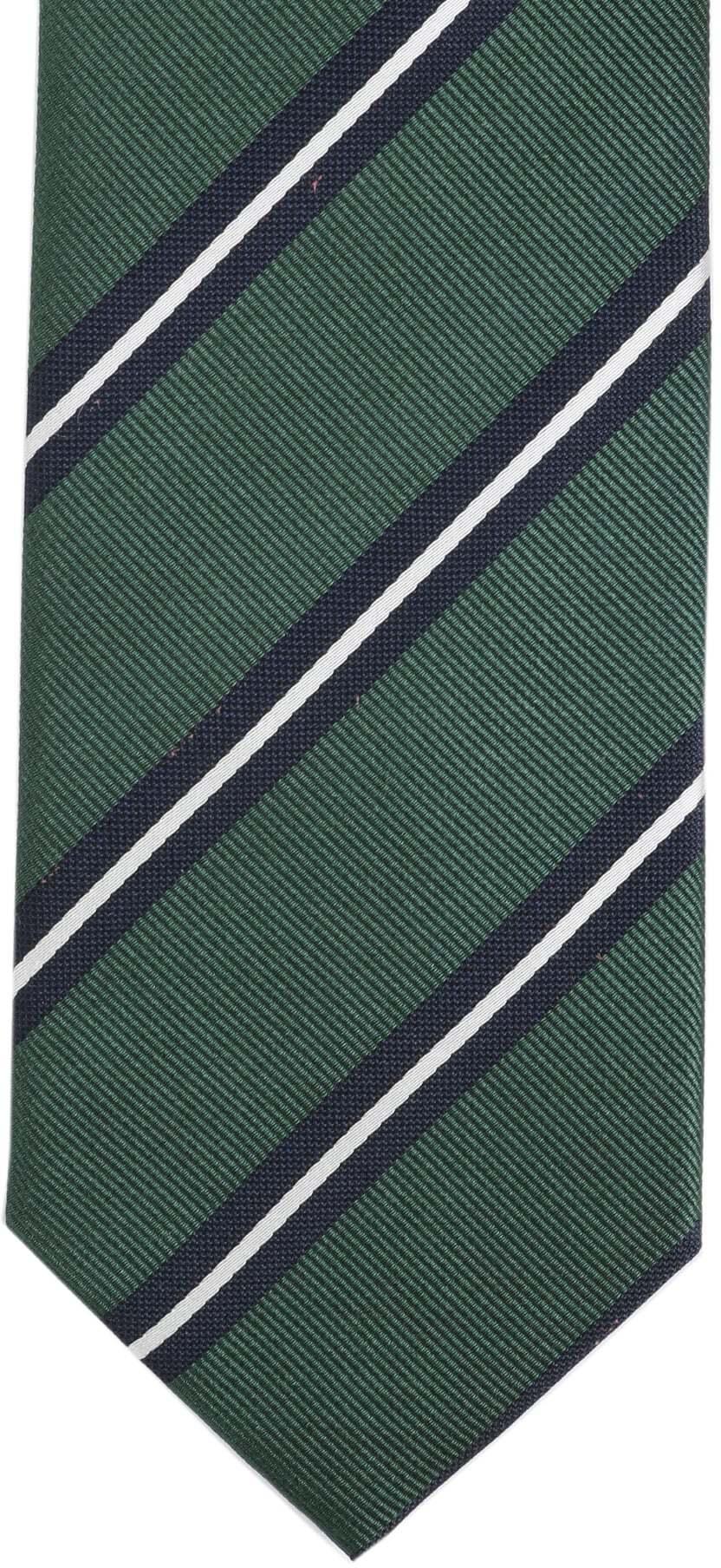 Krawatte Seide Grün Streifen foto 2