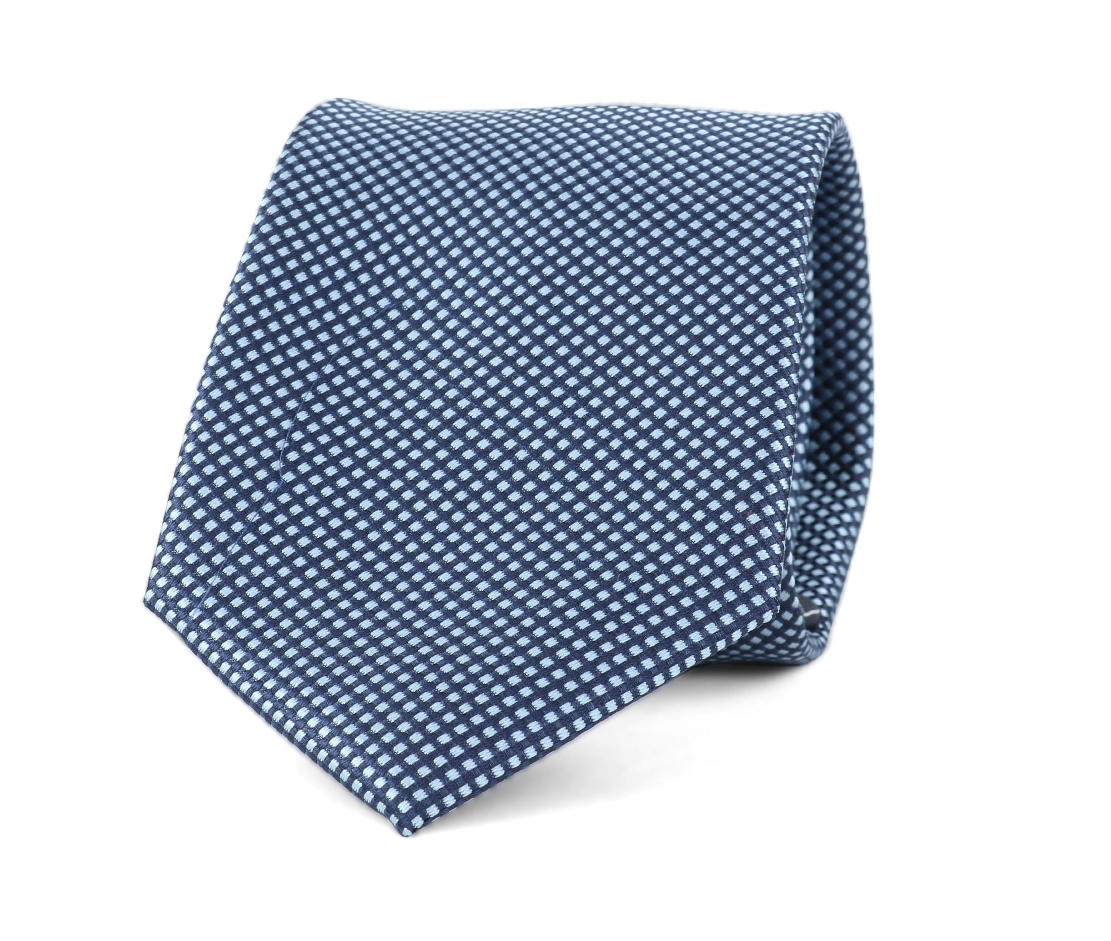 Krawatte Seide Karo Hellblau 9-17 foto 0