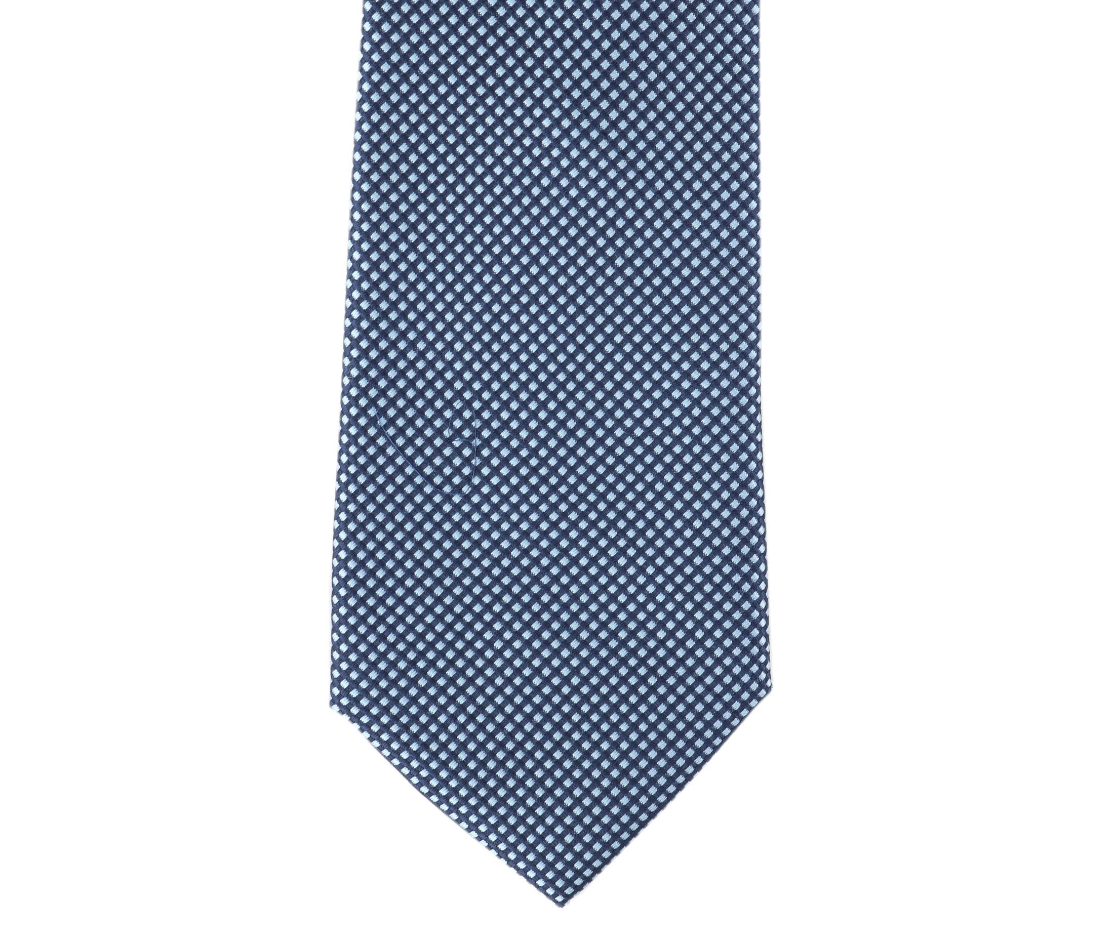 Krawatte Seide Karo Hellblau 9-17 foto 1