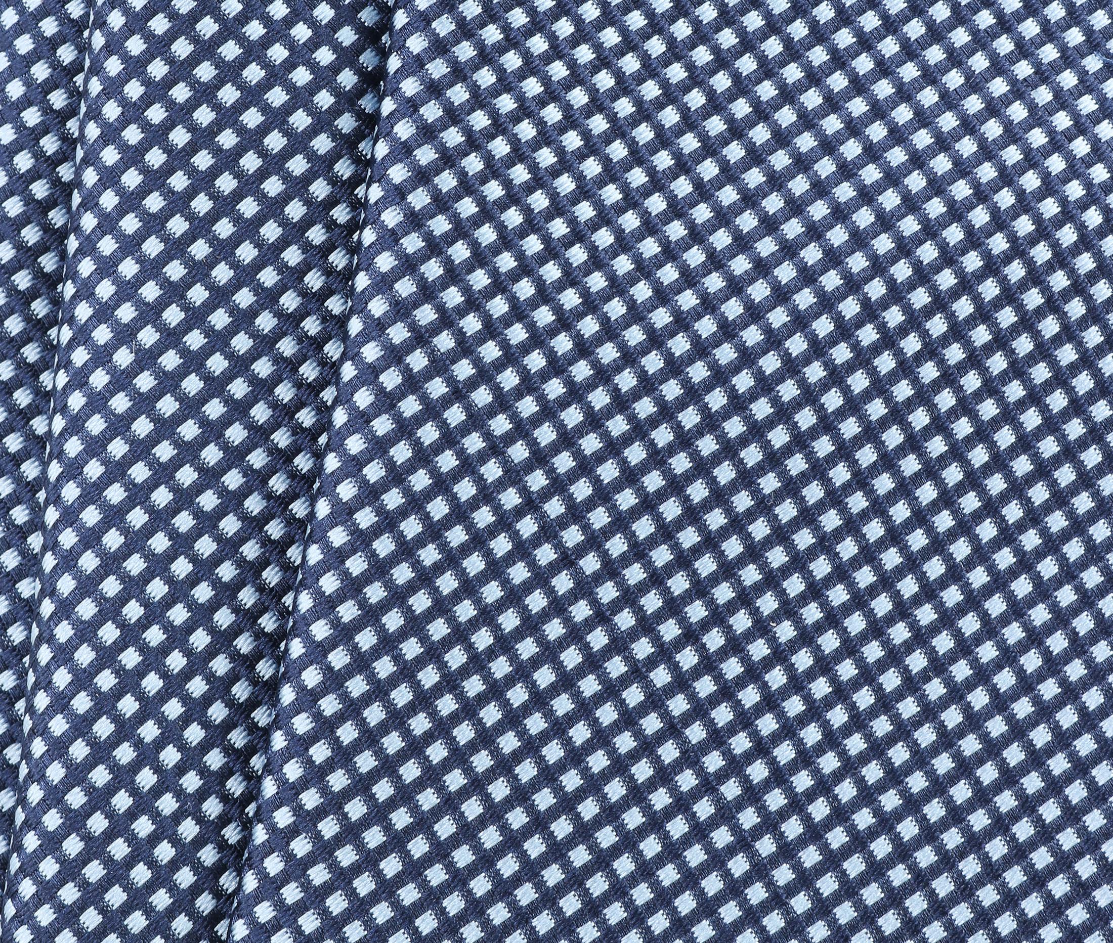 Krawatte Seide Karo Hellblau 9-17 foto 2