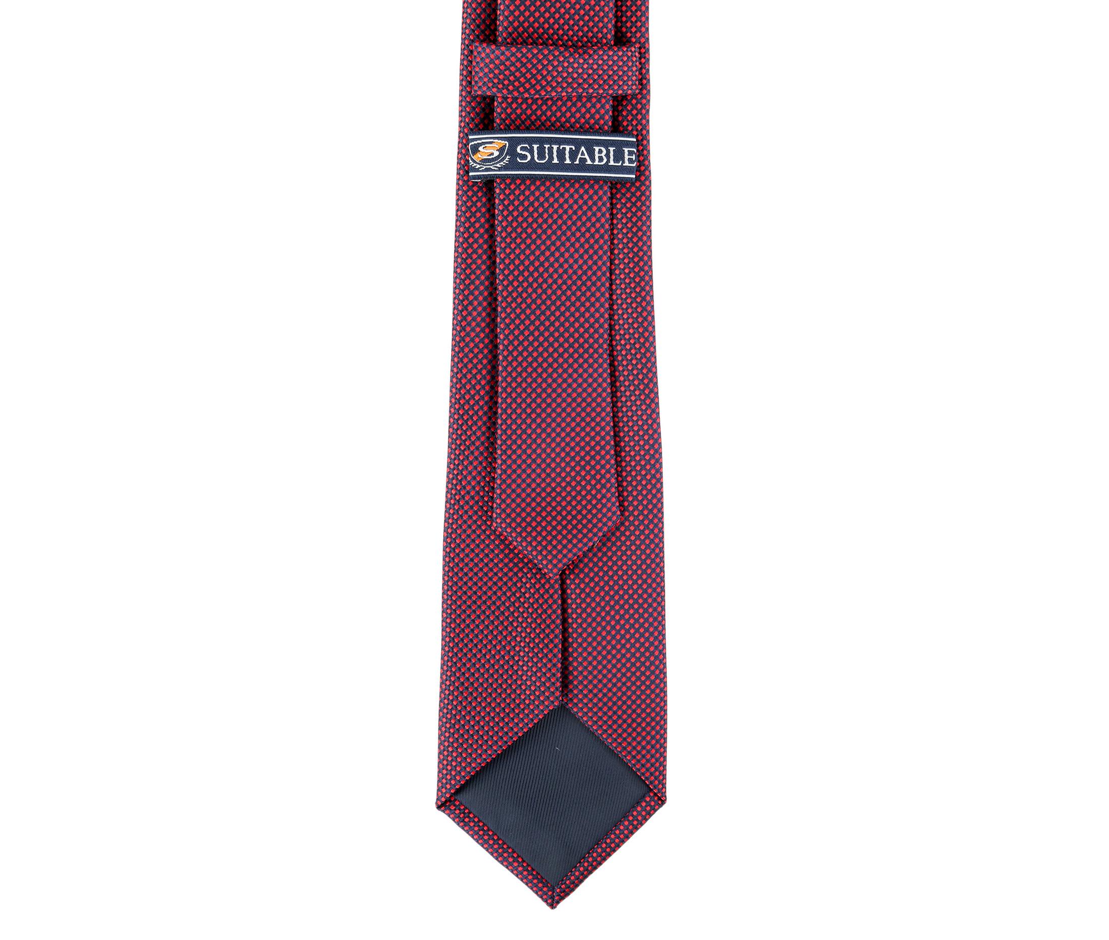 Krawatte Seide Karo Rot 9-17 foto 3