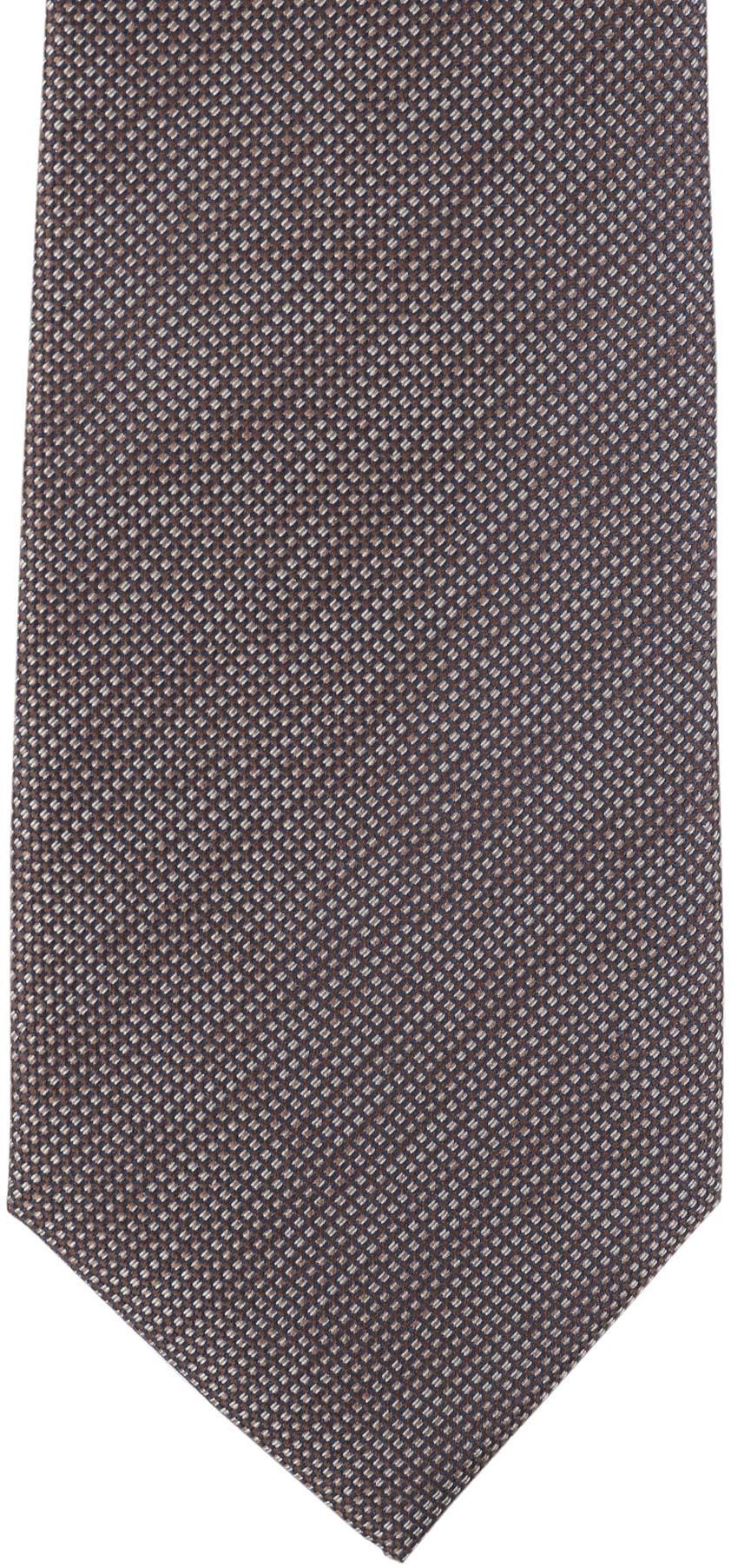 Krawatte Seide Pinpoint Braun 9-17 foto 1