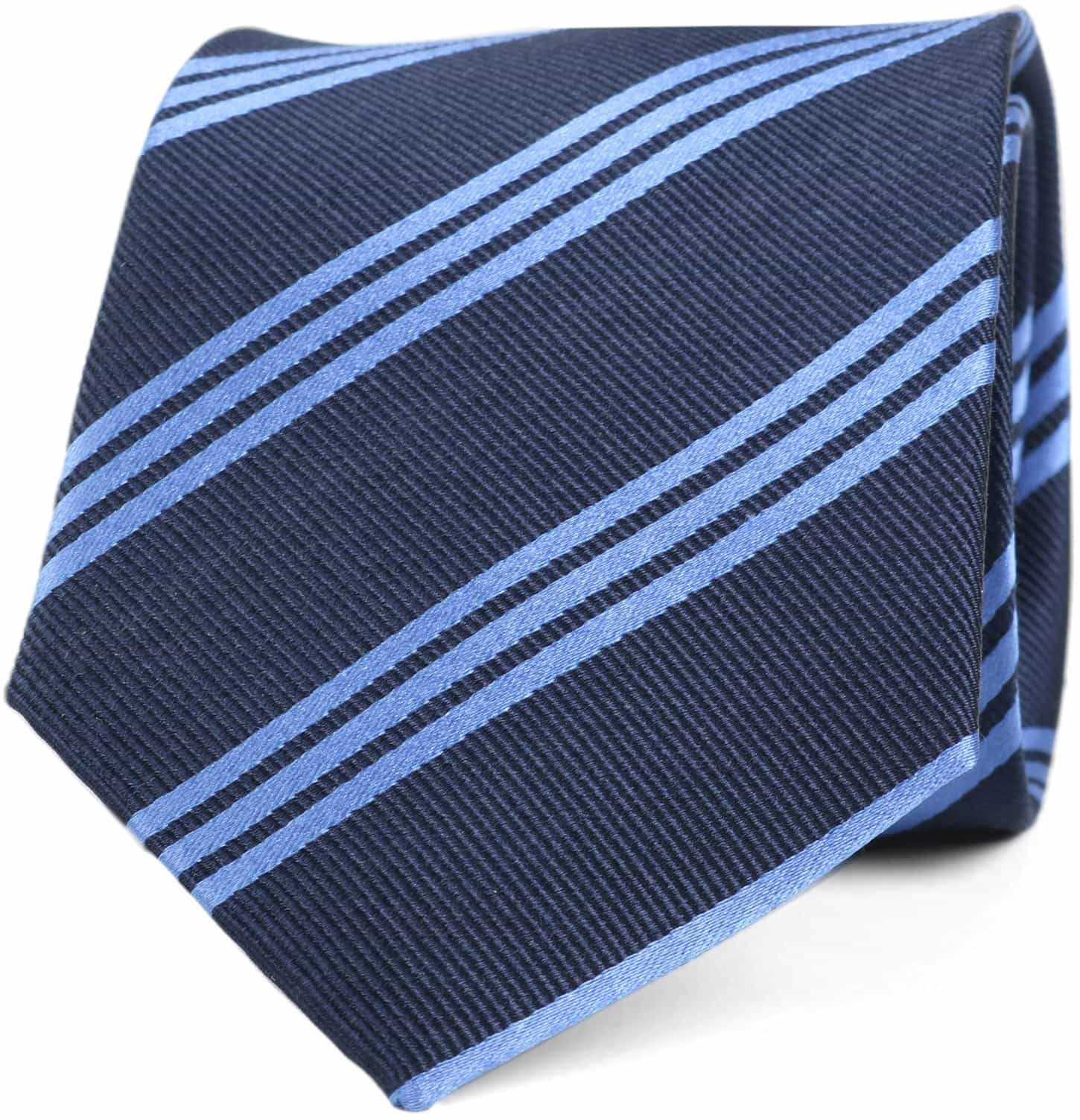 Krawatte Seide Streifen Navy Blau foto 0