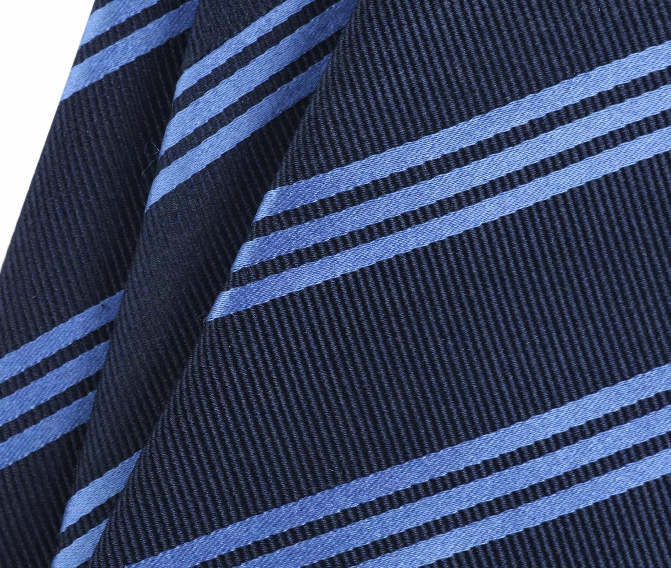 Krawatte Seide Streifen Navy Blau foto 1