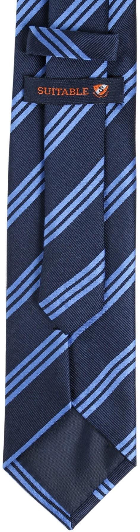 Krawatte Seide Streifen Navy Blau foto 3
