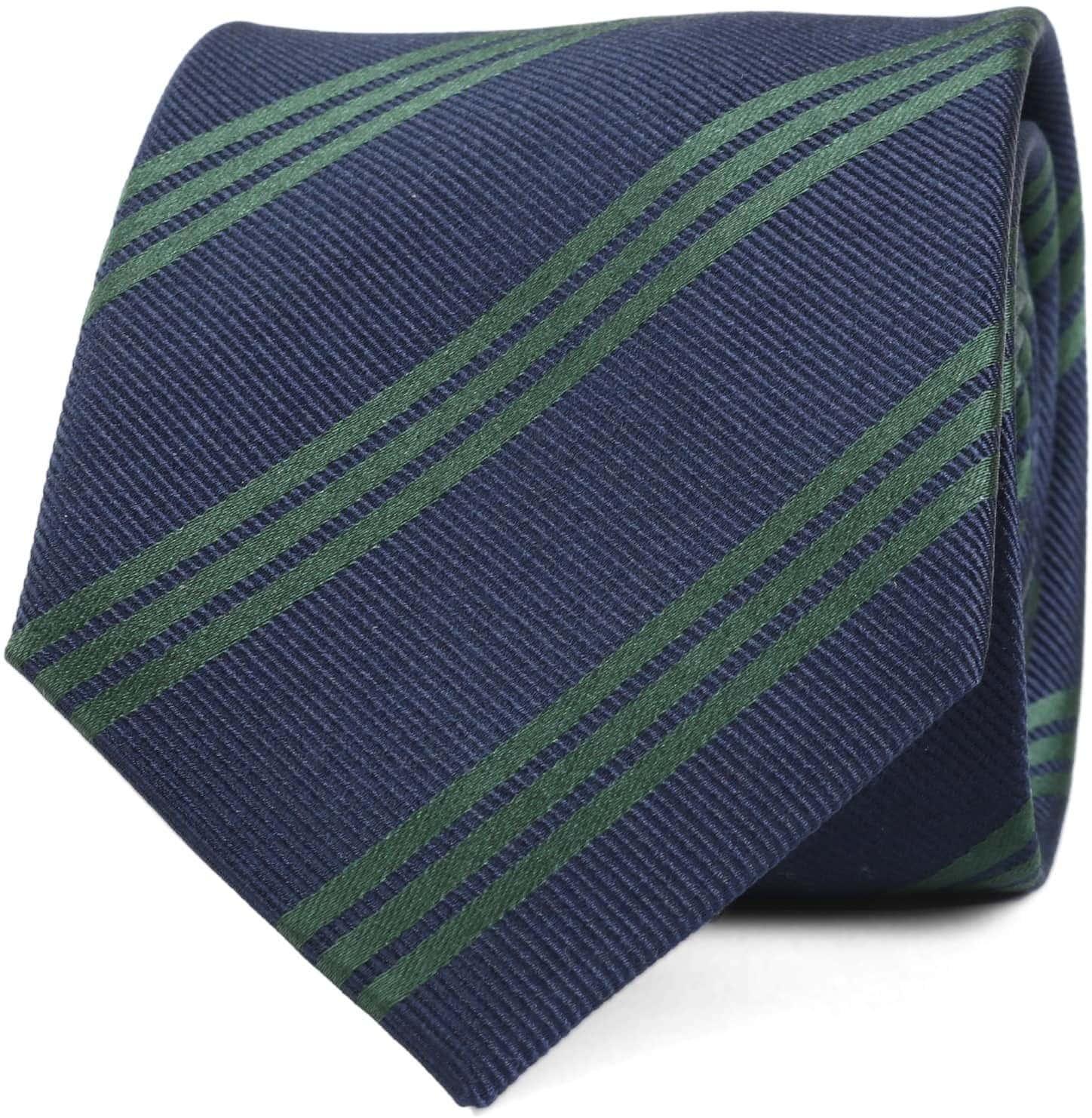 Krawatte Seide Streifen Navy Grun foto 0