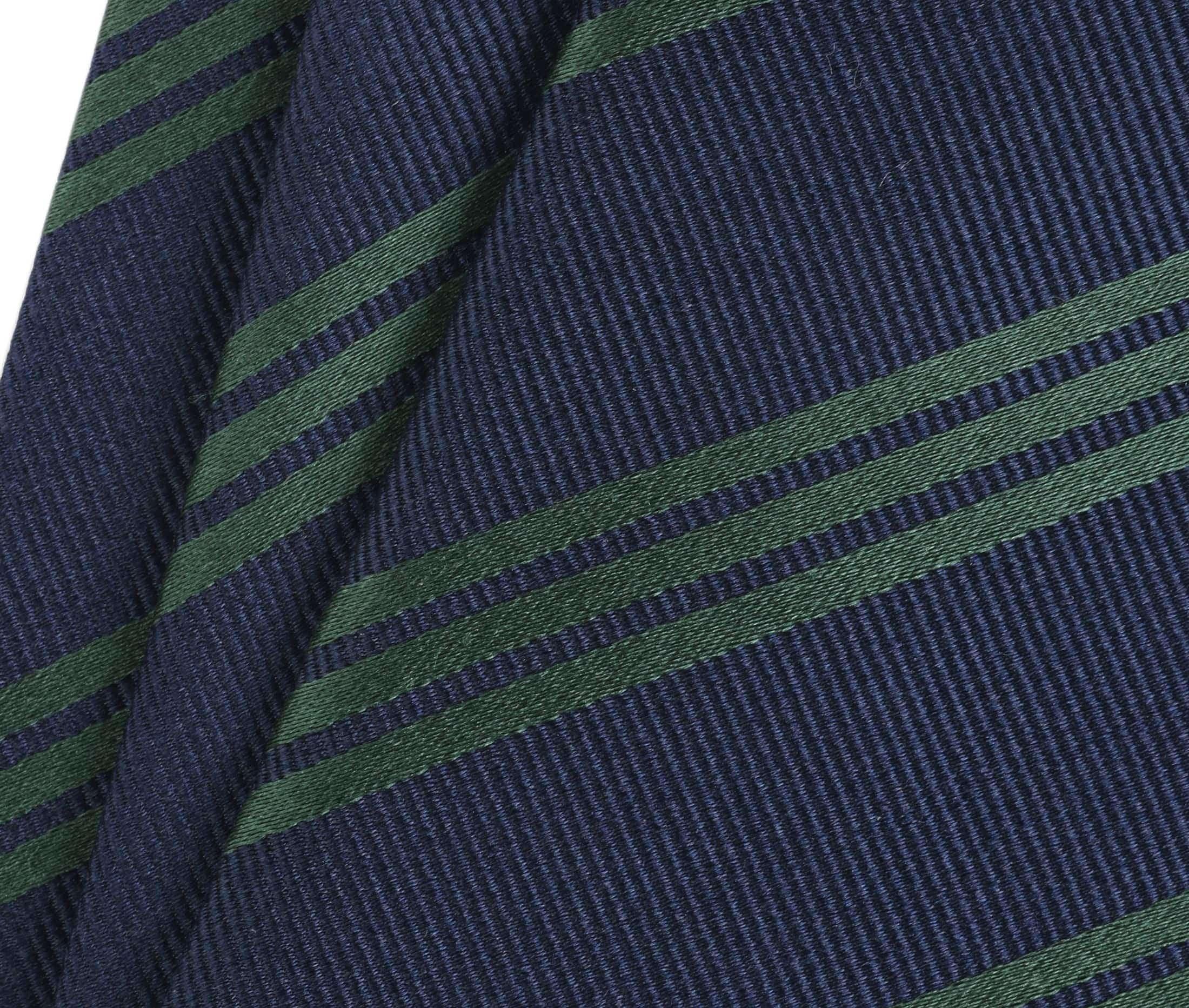 Krawatte Seide Streifen Navy Grun foto 1