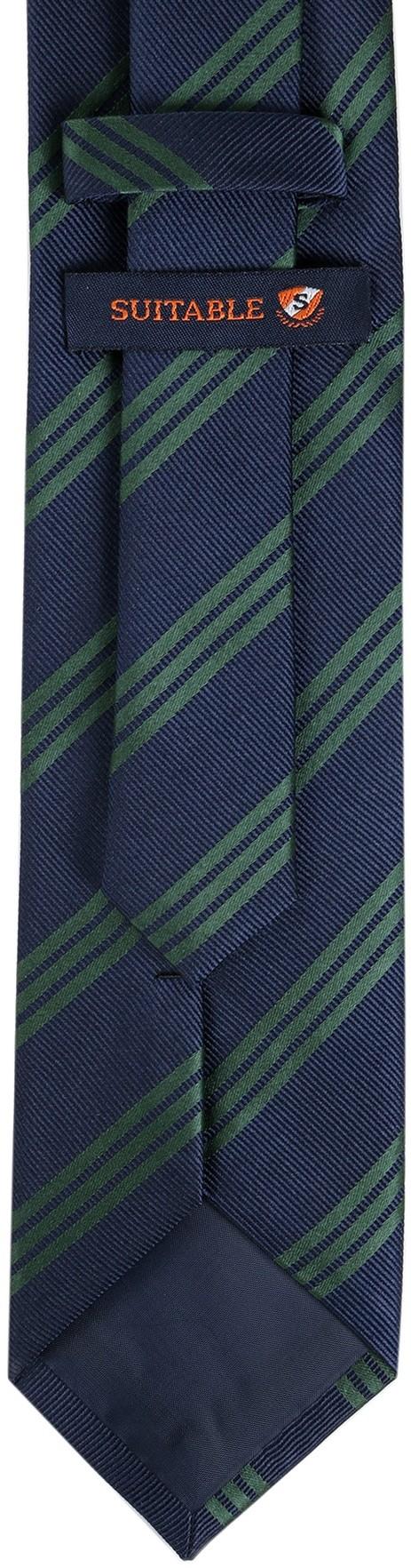 Krawatte Seide Streifen Navy Grun foto 3