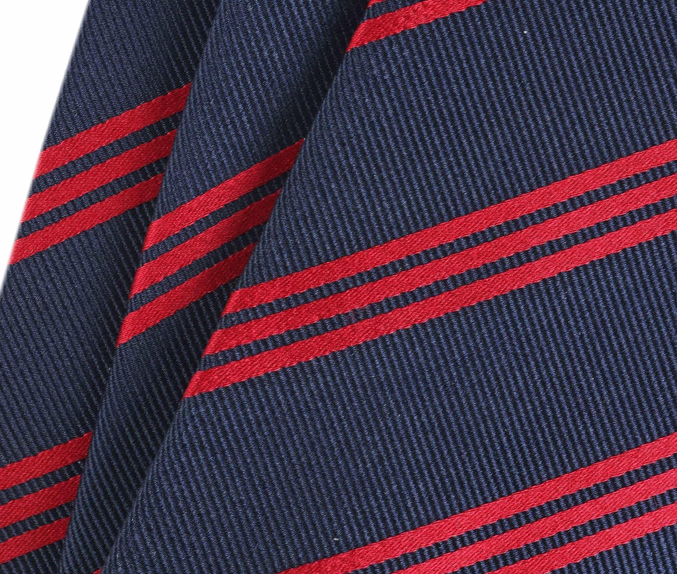 Krawatte Seide Streifen Navy Rot foto 1