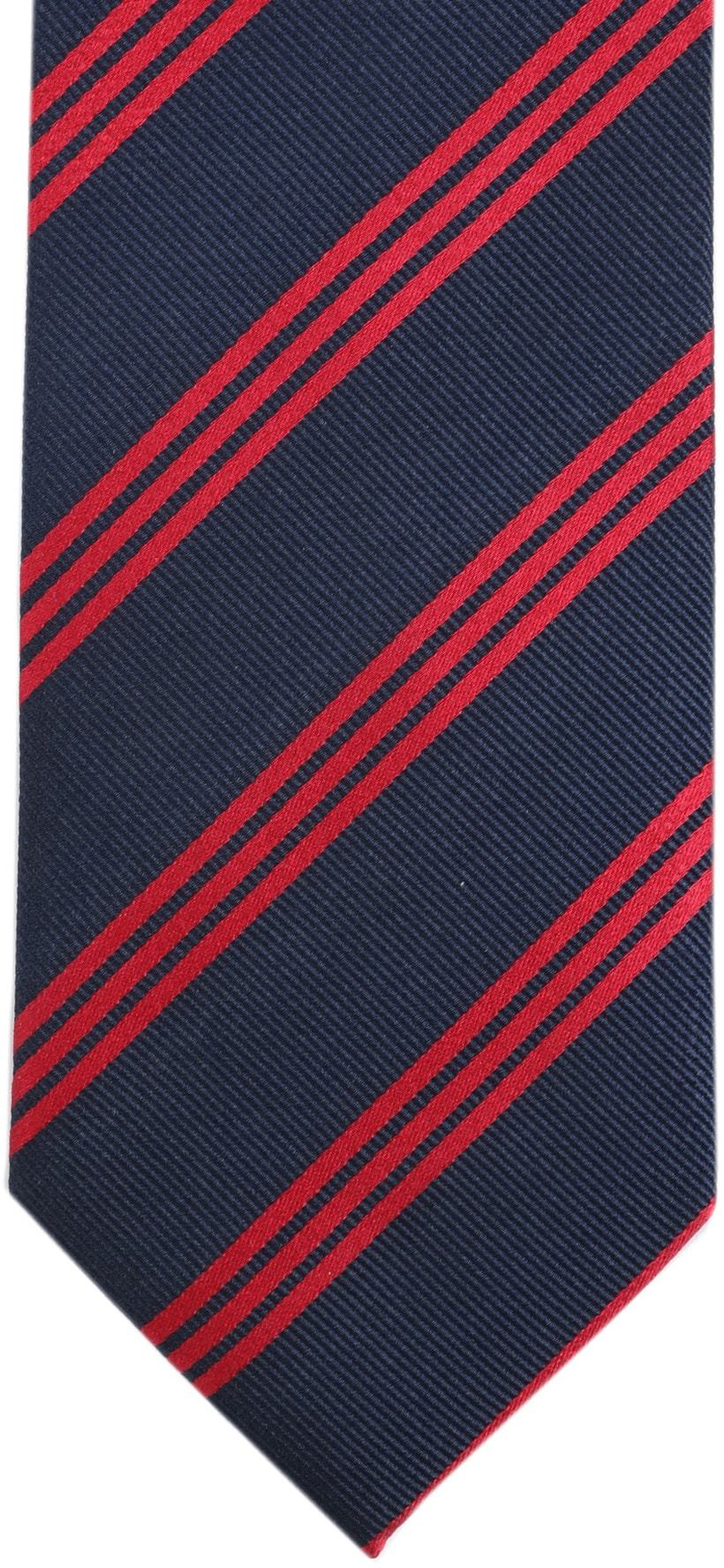 Krawatte Seide Streifen Navy Rot foto 2