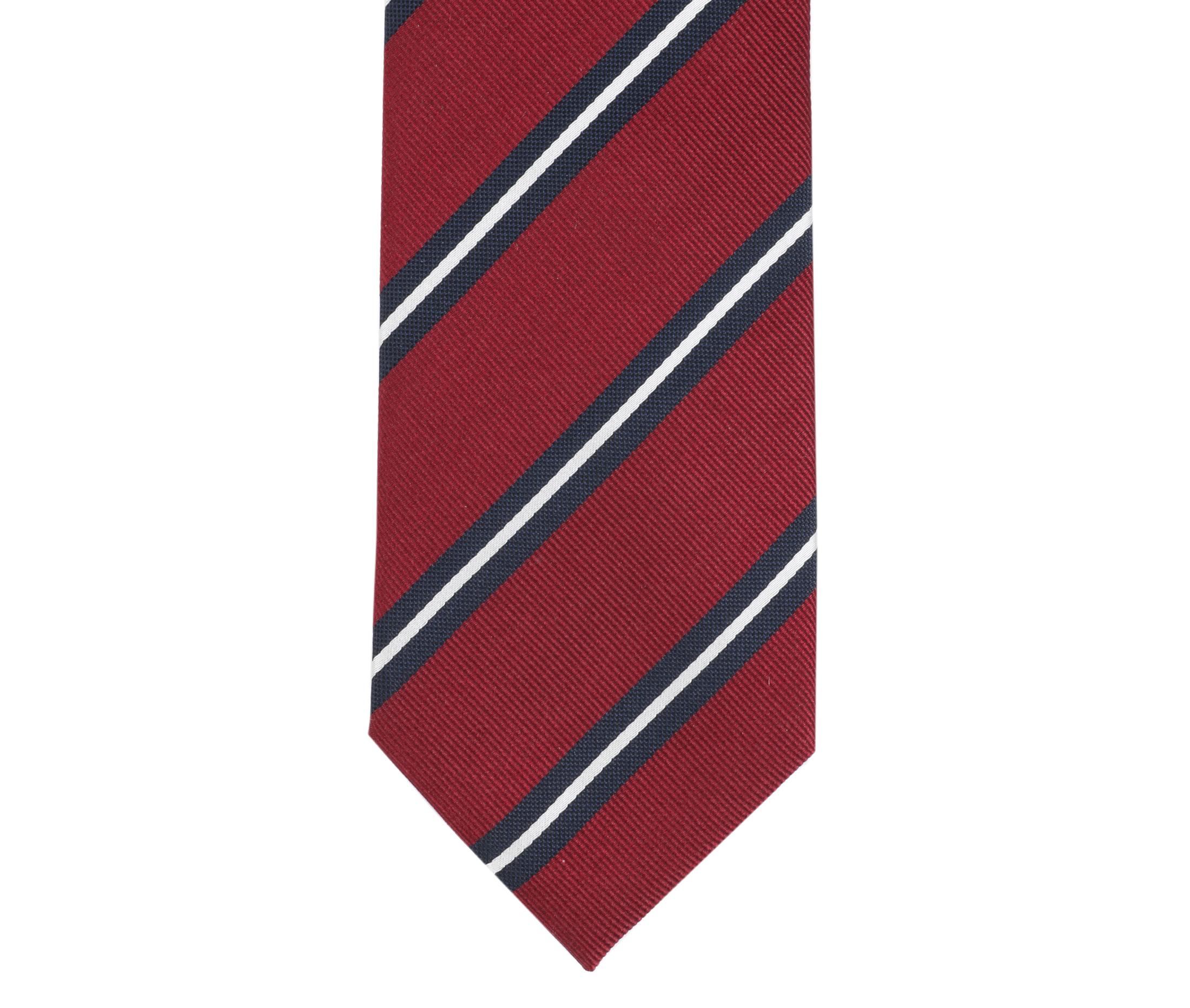 Krawatte Seide Streifen Rot foto 2