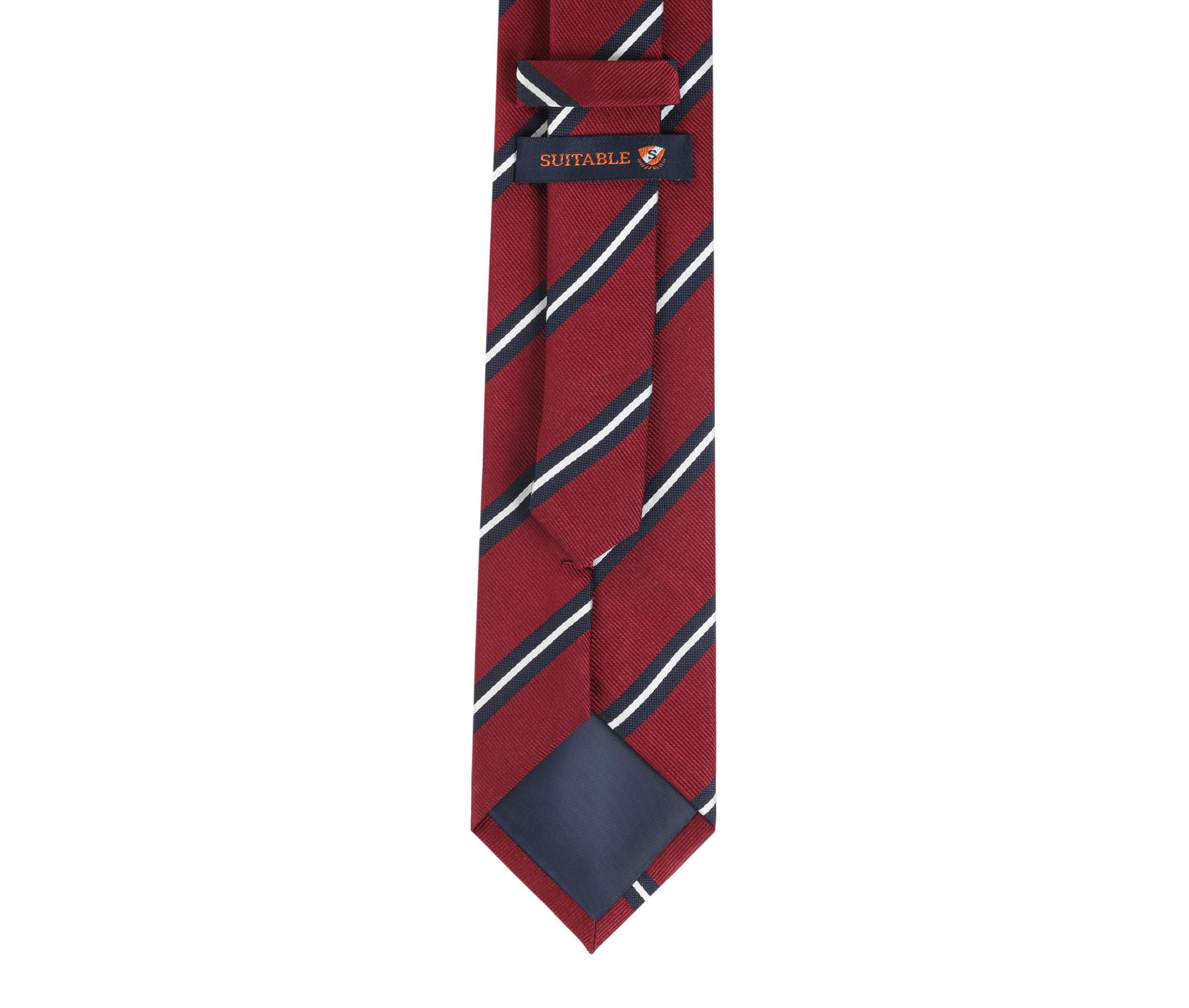 Krawatte Seide Streifen Rot foto 3