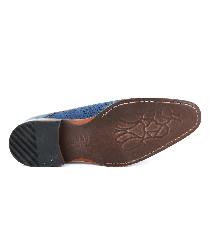 Leder Schuh Zopf Blau foto 4