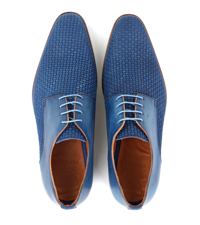 Leder Schuh Zopf Blau foto 2