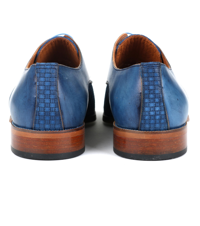 Leder Schuh Zopf Blau foto 3