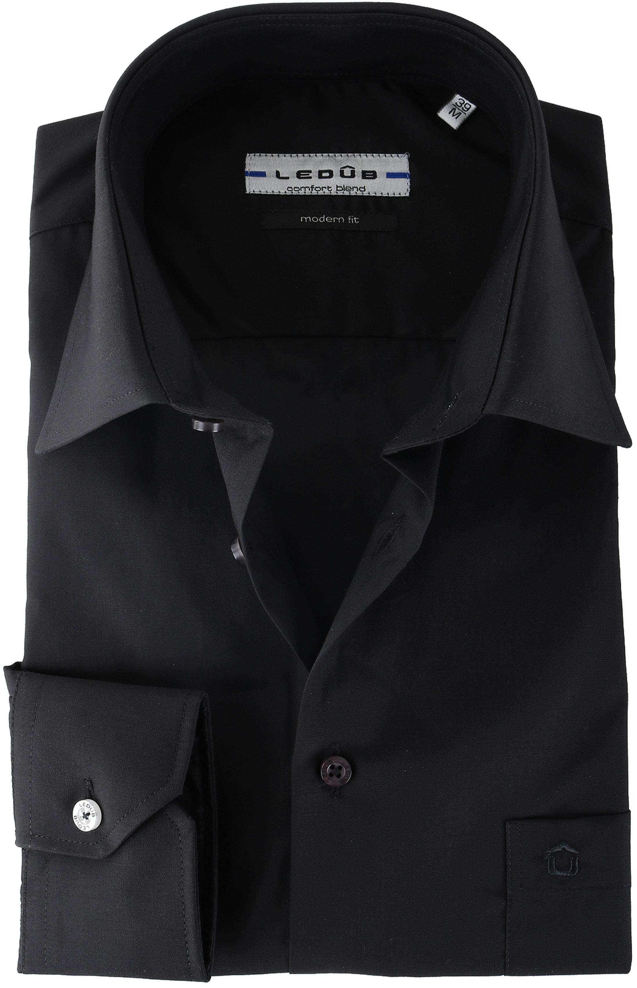 Ledub Hemd Zwart Modern Fit