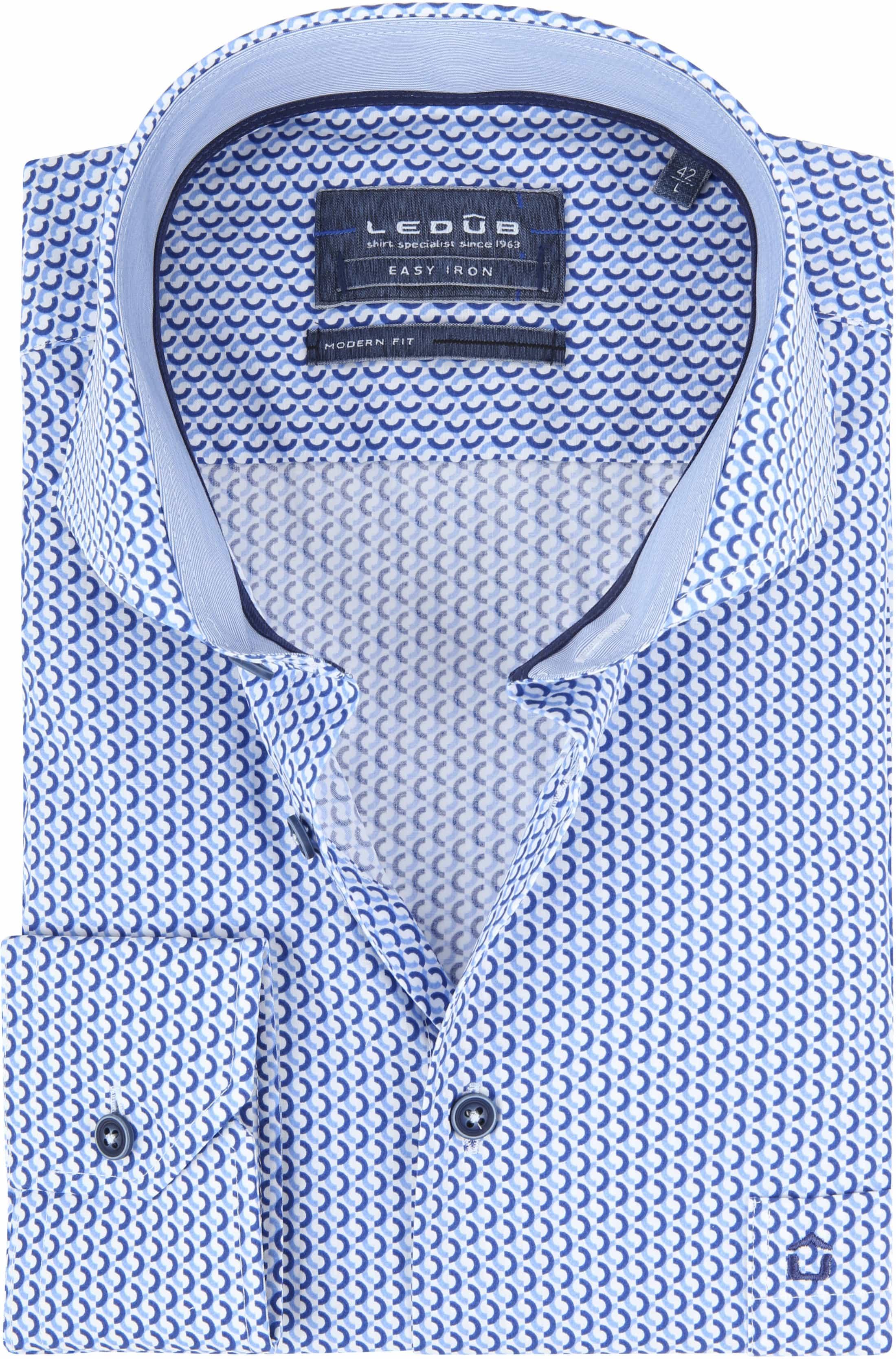 Ledub Overhemd Blauw Patroon foto 0