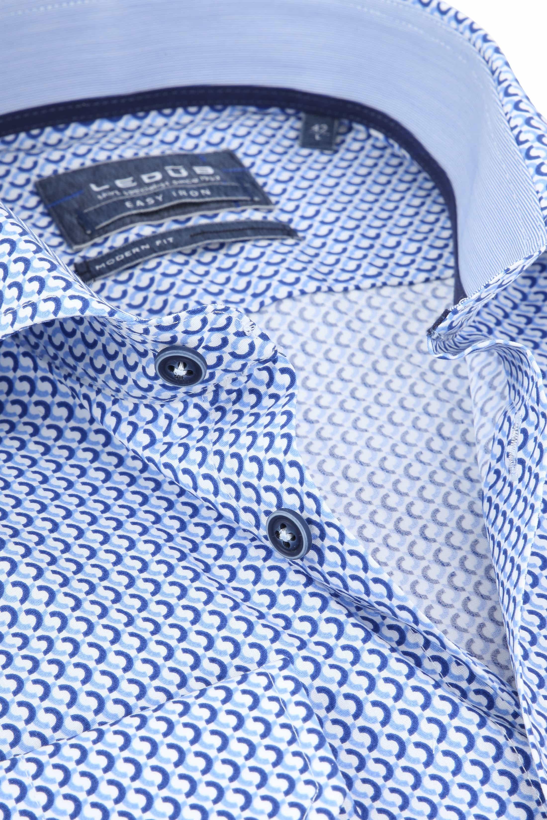 Ledub Overhemd Blauw Patroon foto 1