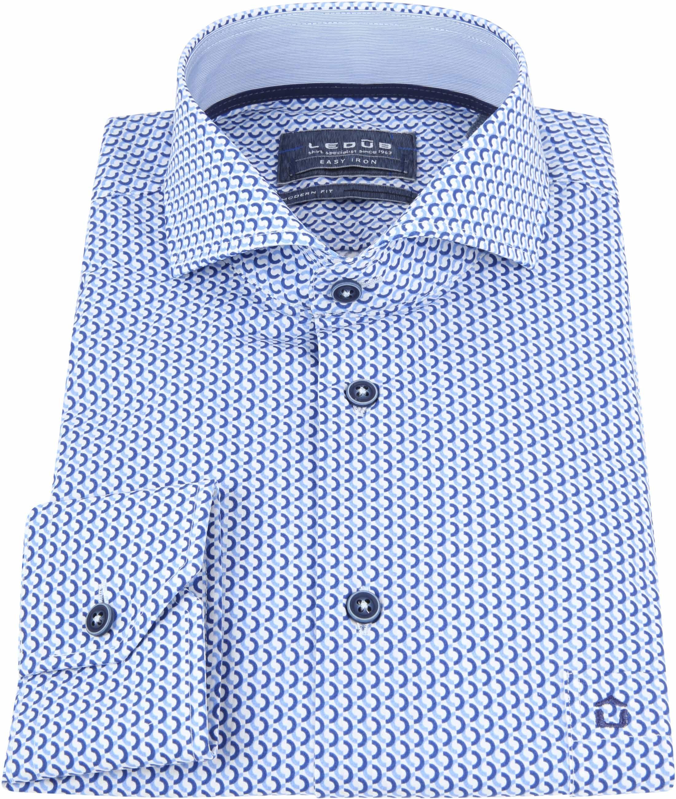 Ledub Overhemd Blauw Patroon foto 2