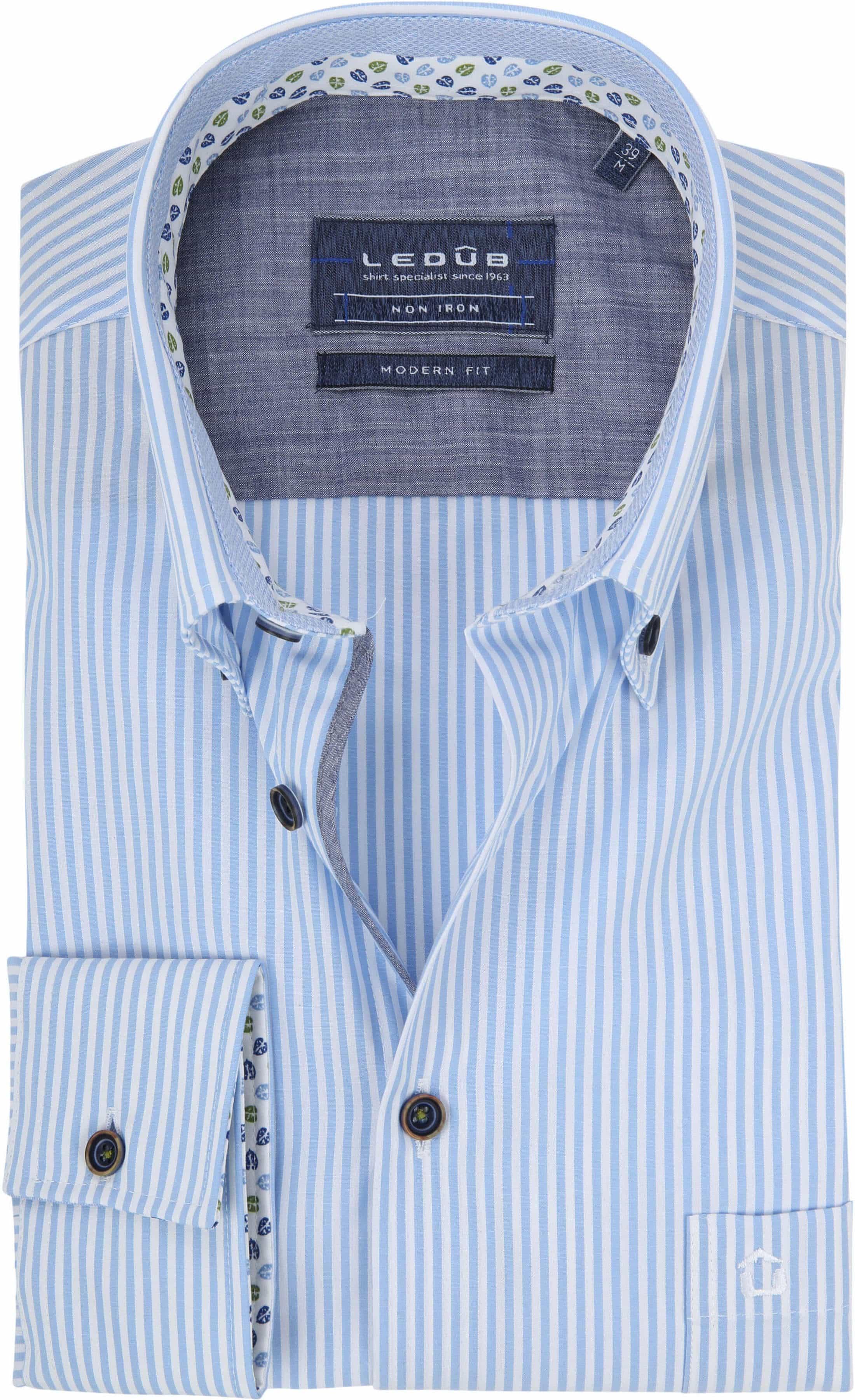 Ledub Overhemd Blauw Strepen foto 0