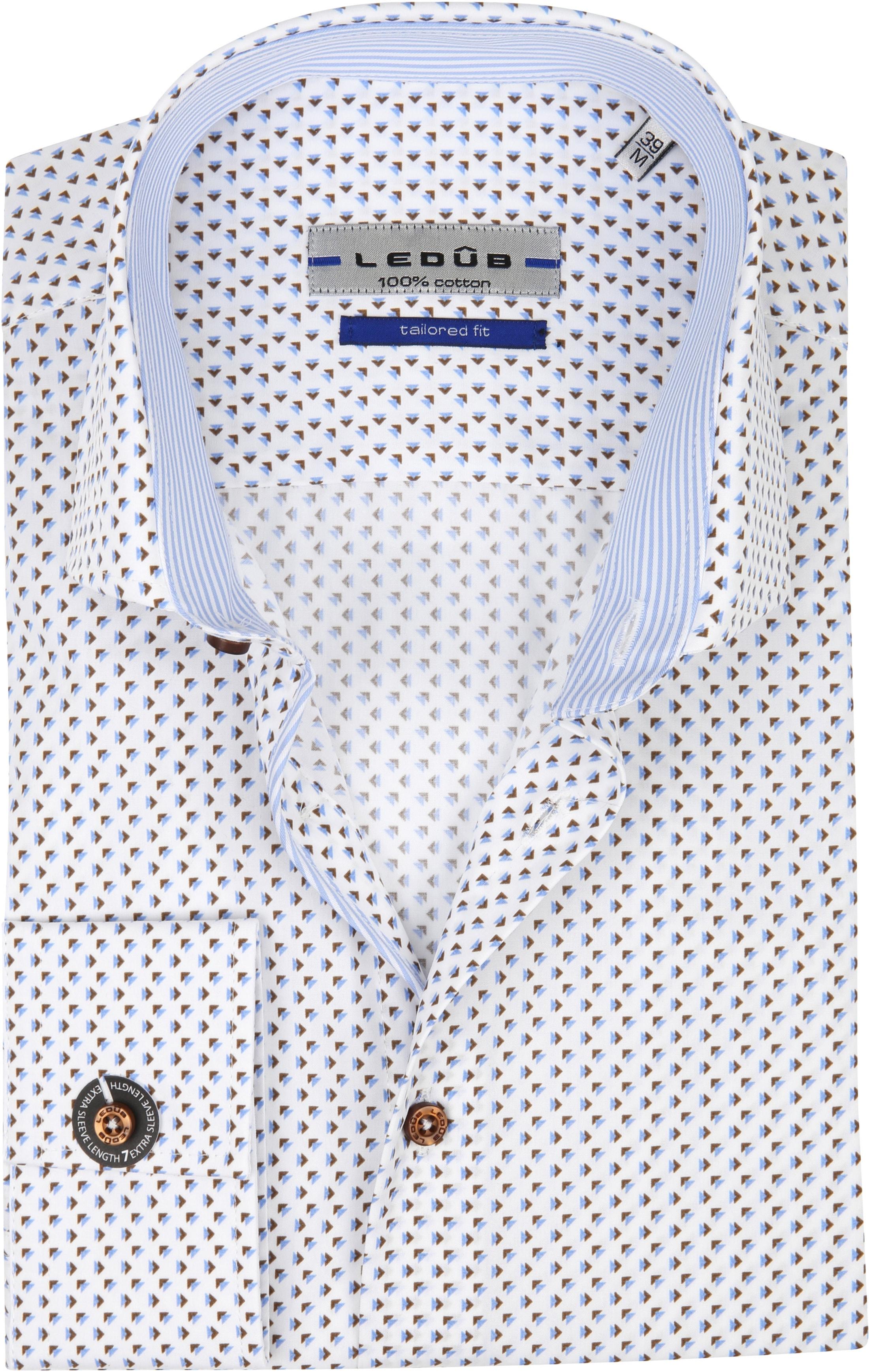 Ledub Overhemd Print Bruin Blauw SL7 foto 0